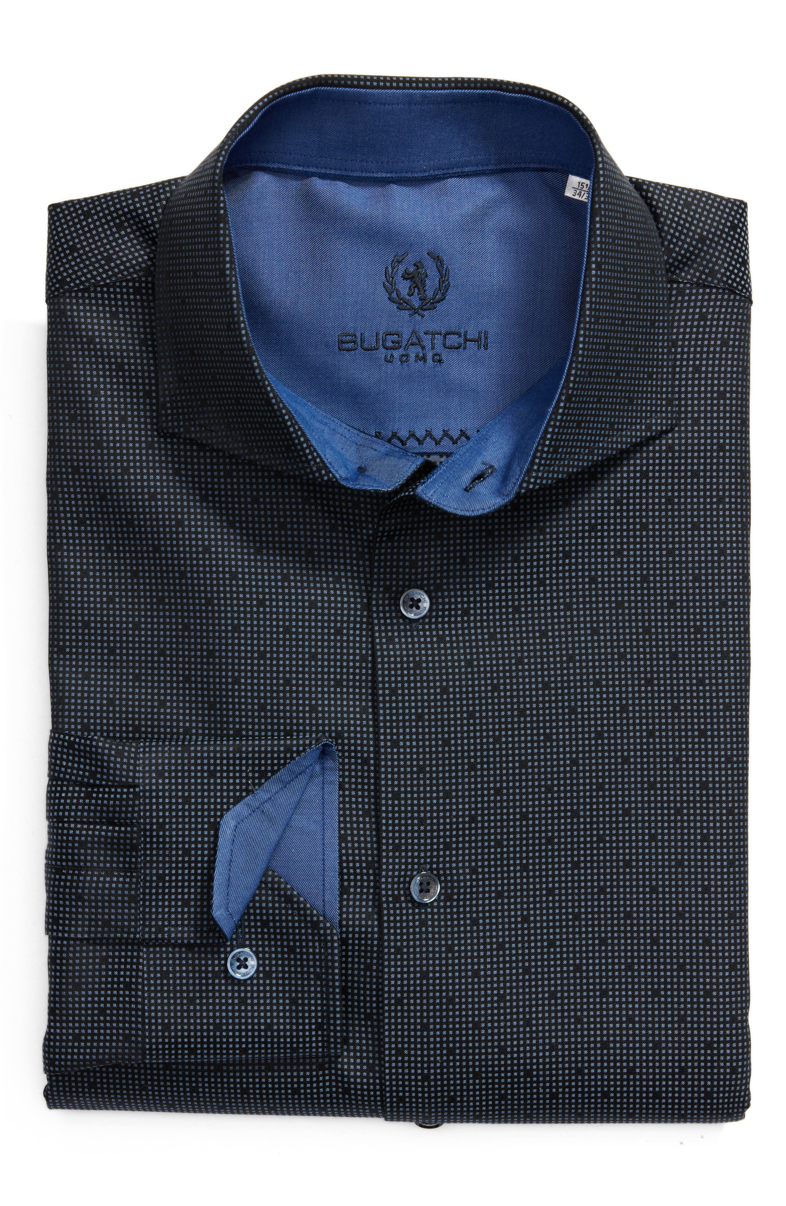Trim Fit Check Dress Shirt,                         Main,                         color, Midnight