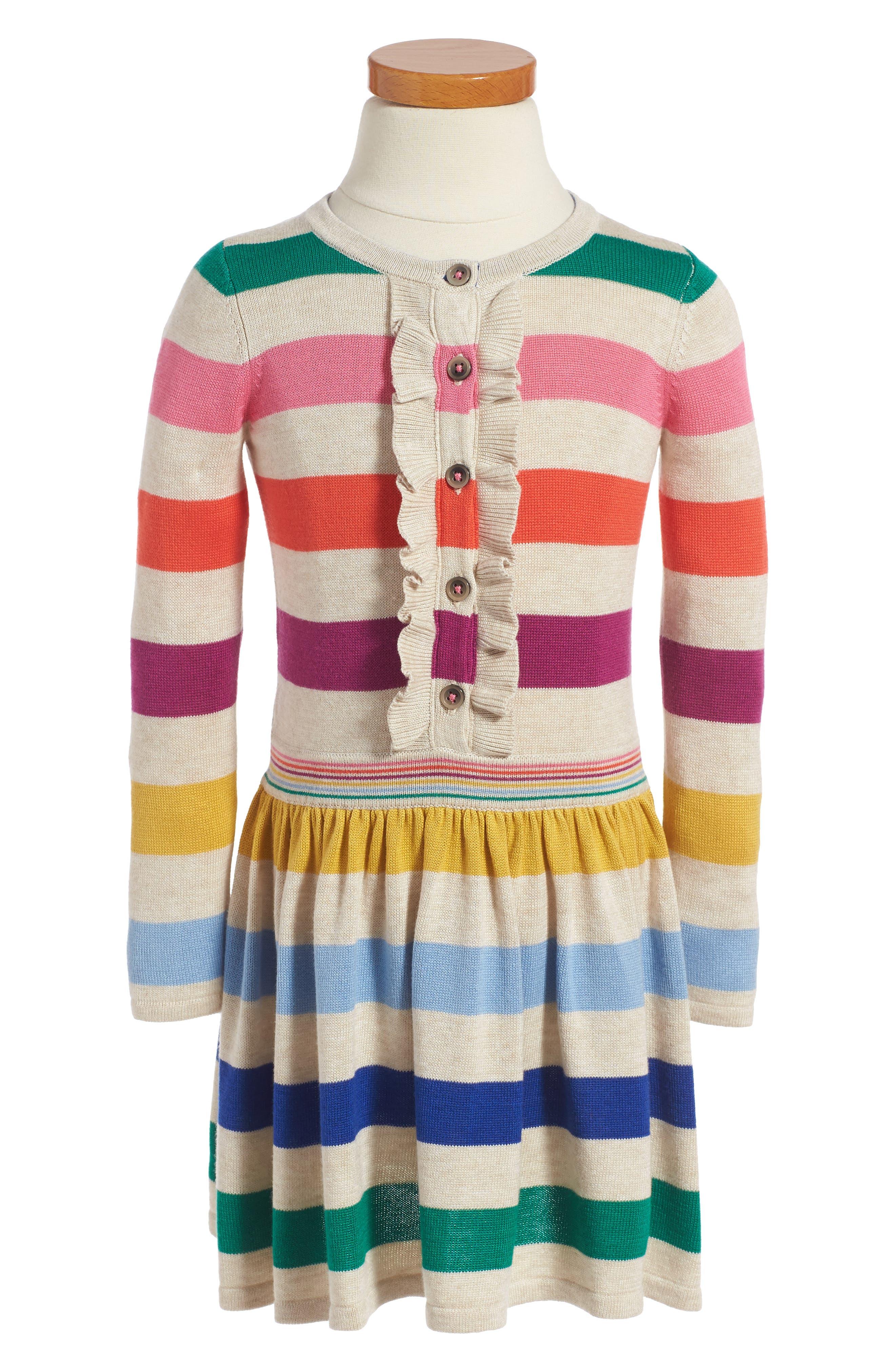 Mini Boden Rainbow Knit Dress (Toddler Girls, Little Girls & Big Girls)