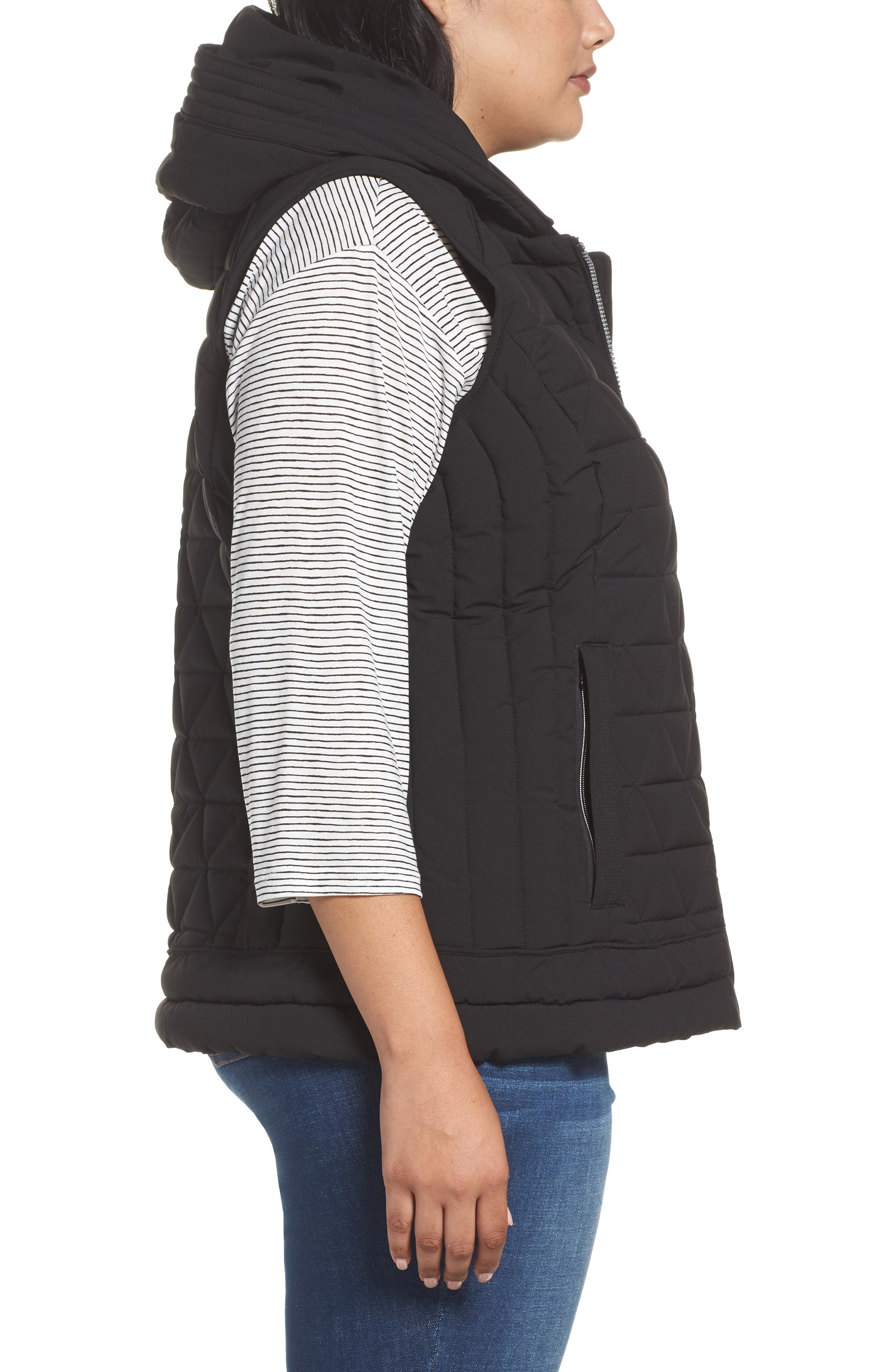 Sage Quilted Vest,                             Alternate thumbnail 3, color,                             Black
