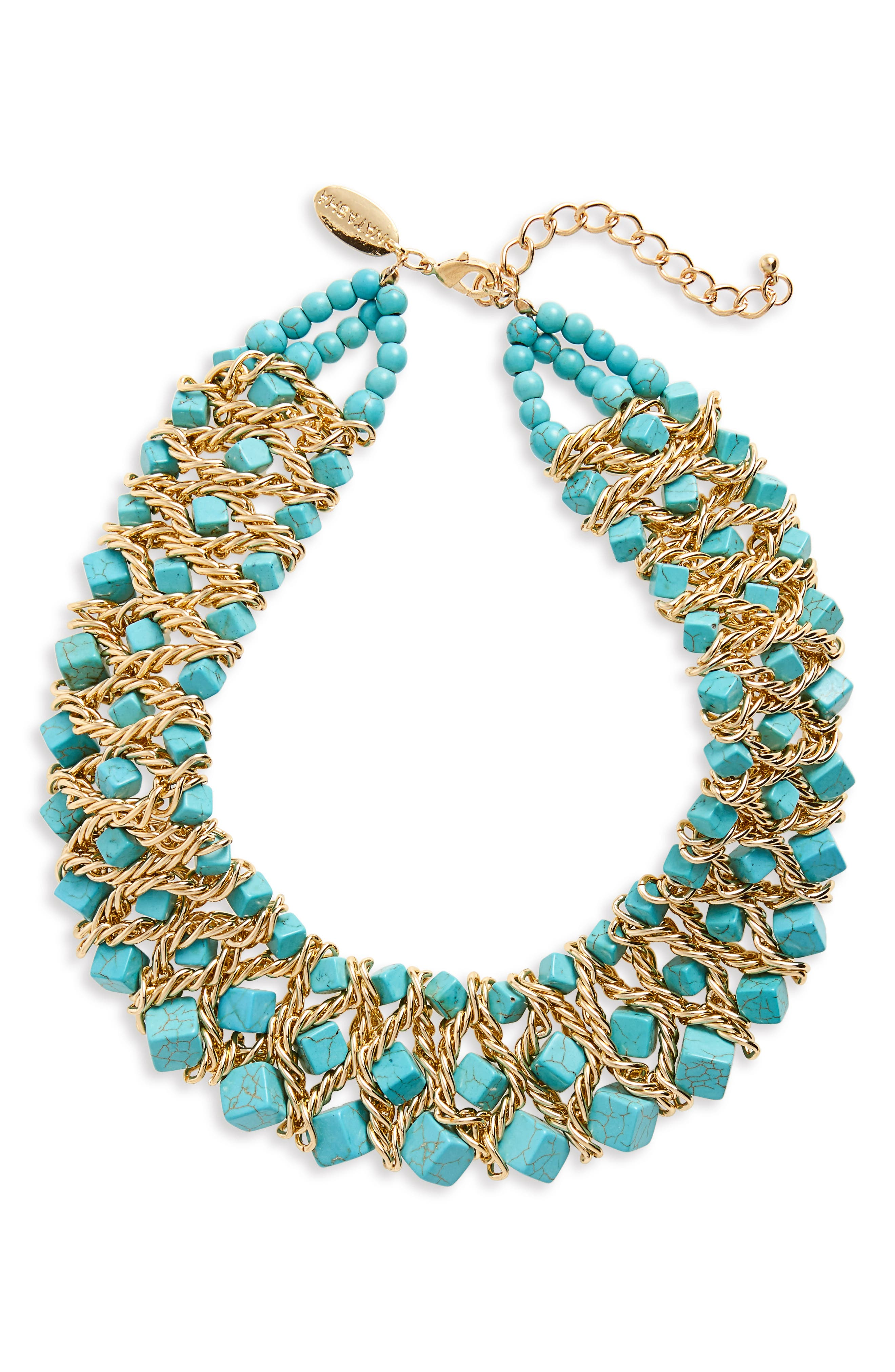 Chain & Stone Statement Necklace,                             Main thumbnail 1, color,                             Turquoise
