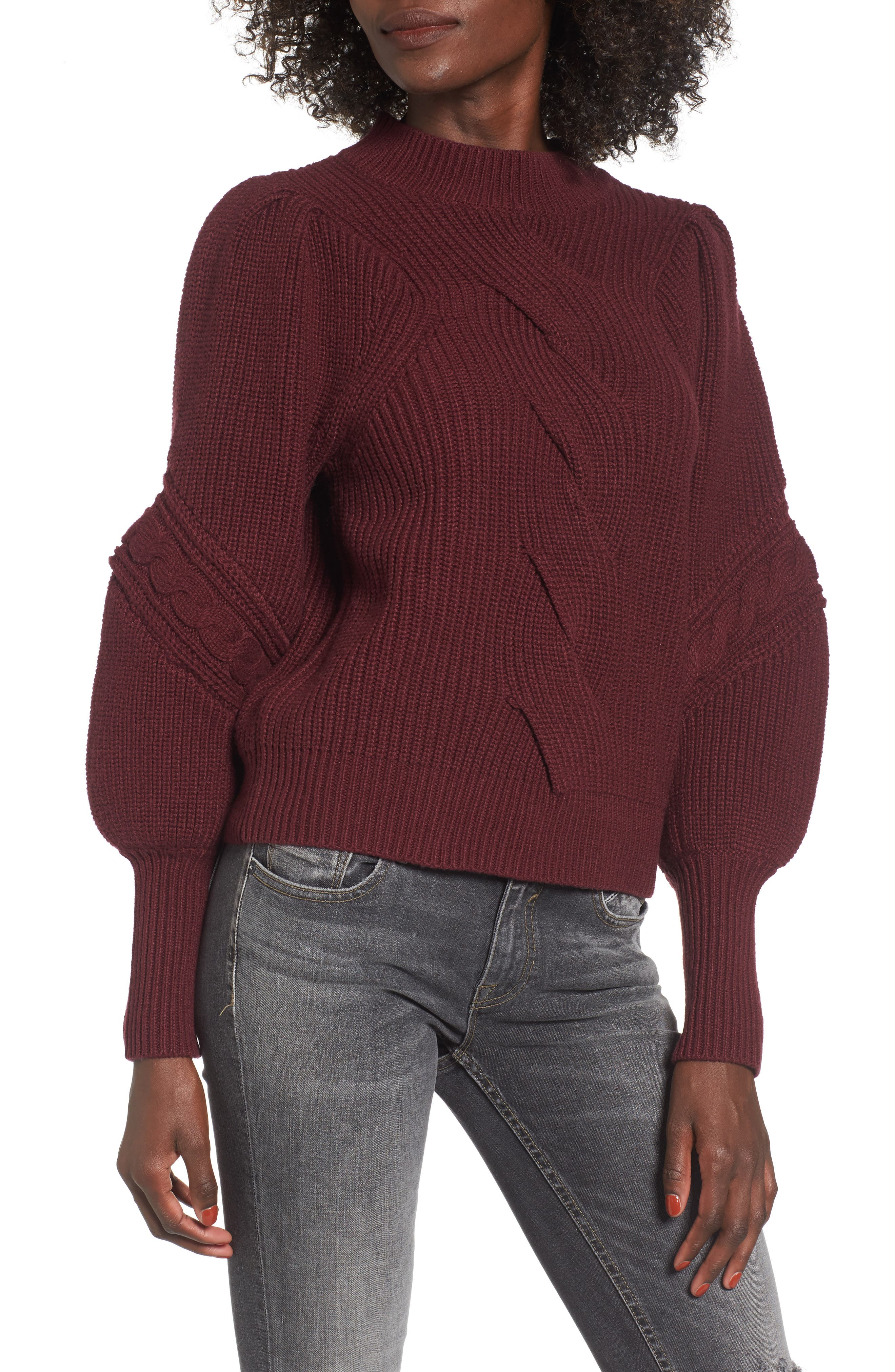 Cable Knit Puff Sleeve Sweater,                             Main thumbnail 1, color,                             Burgundy Royale