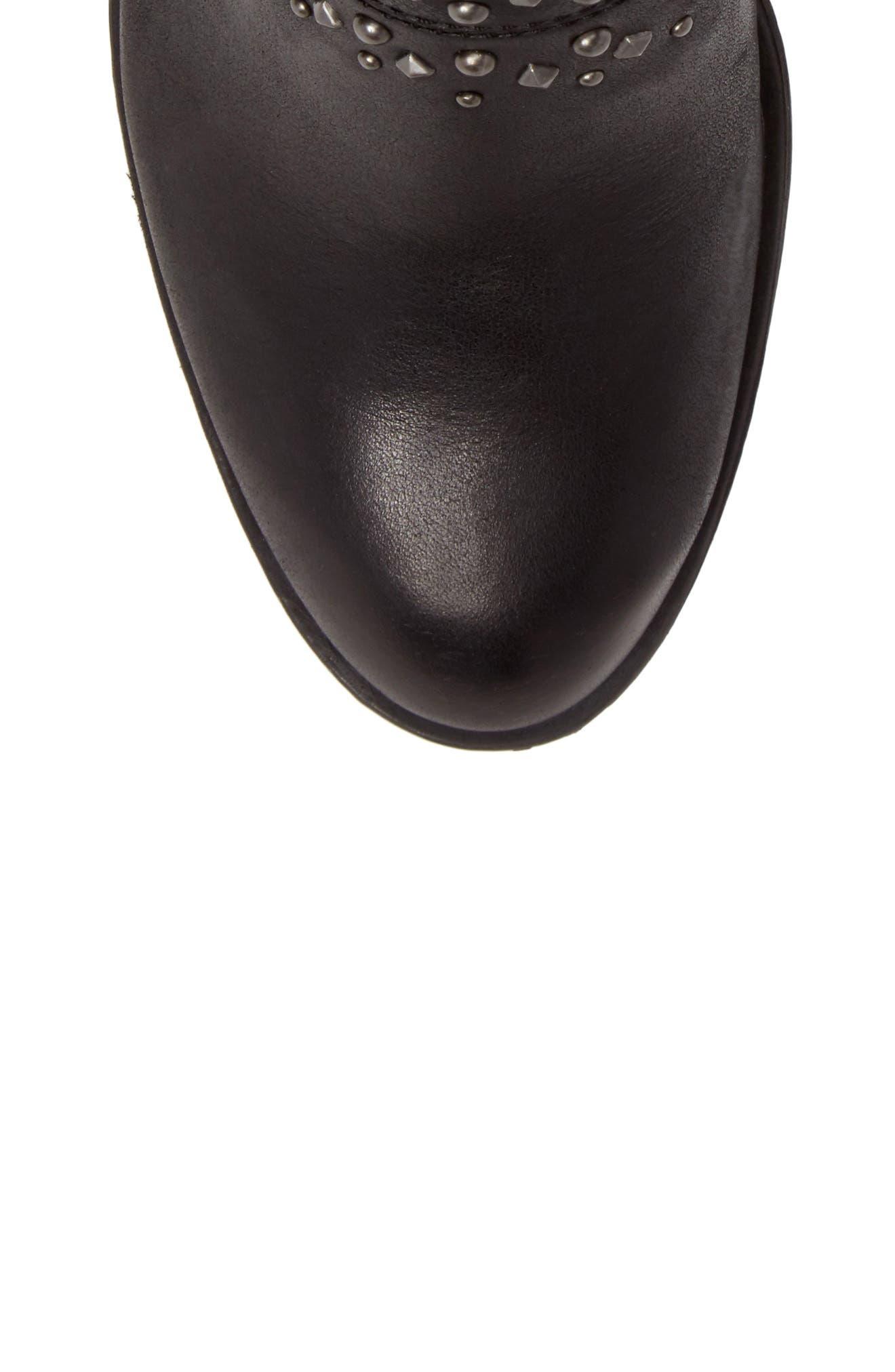 Sancha Studded Bootie,                             Alternate thumbnail 5, color,                             Black Leather