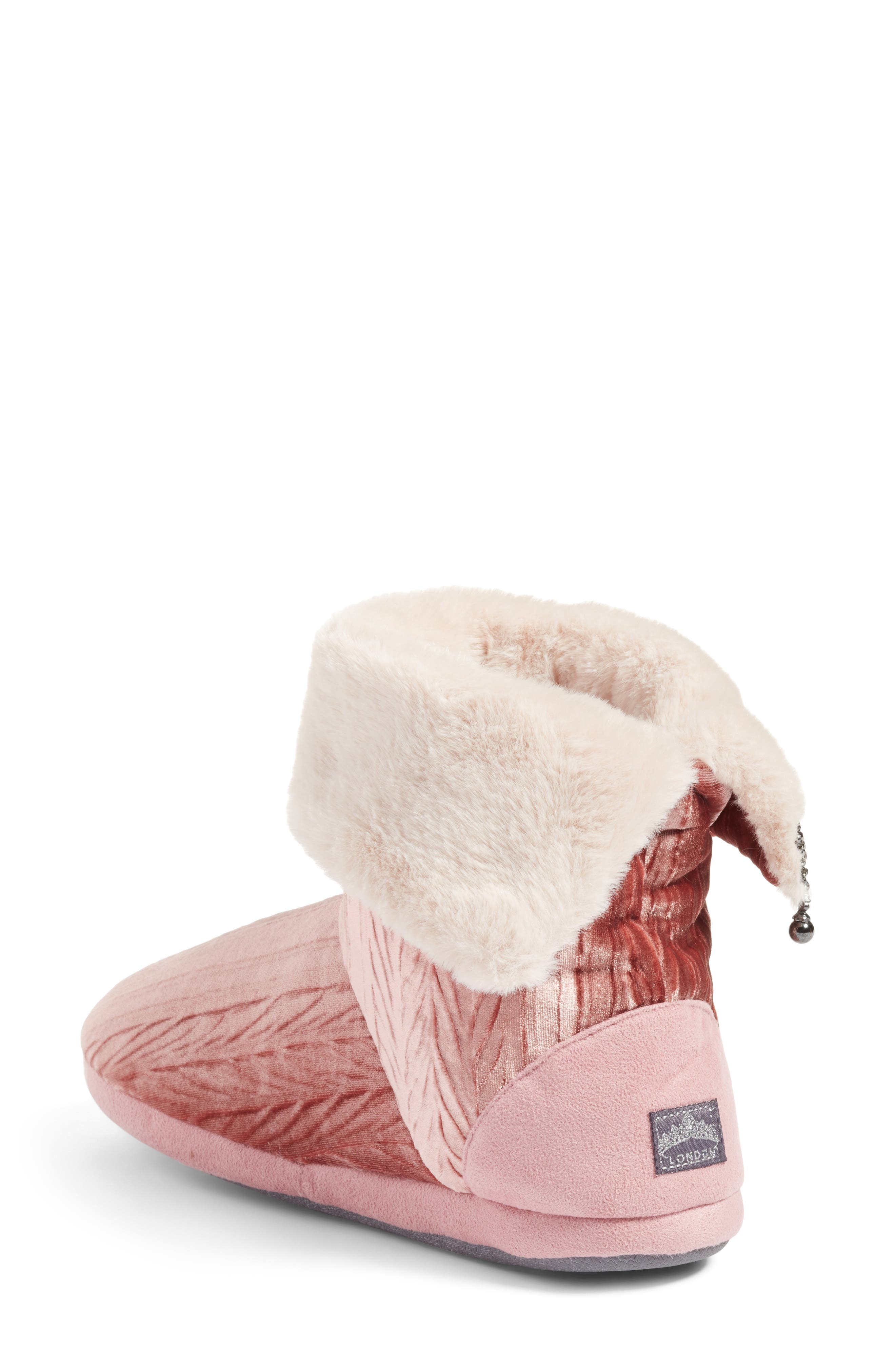 Velvet Bootie Slipper,                             Alternate thumbnail 3, color,                             Pink