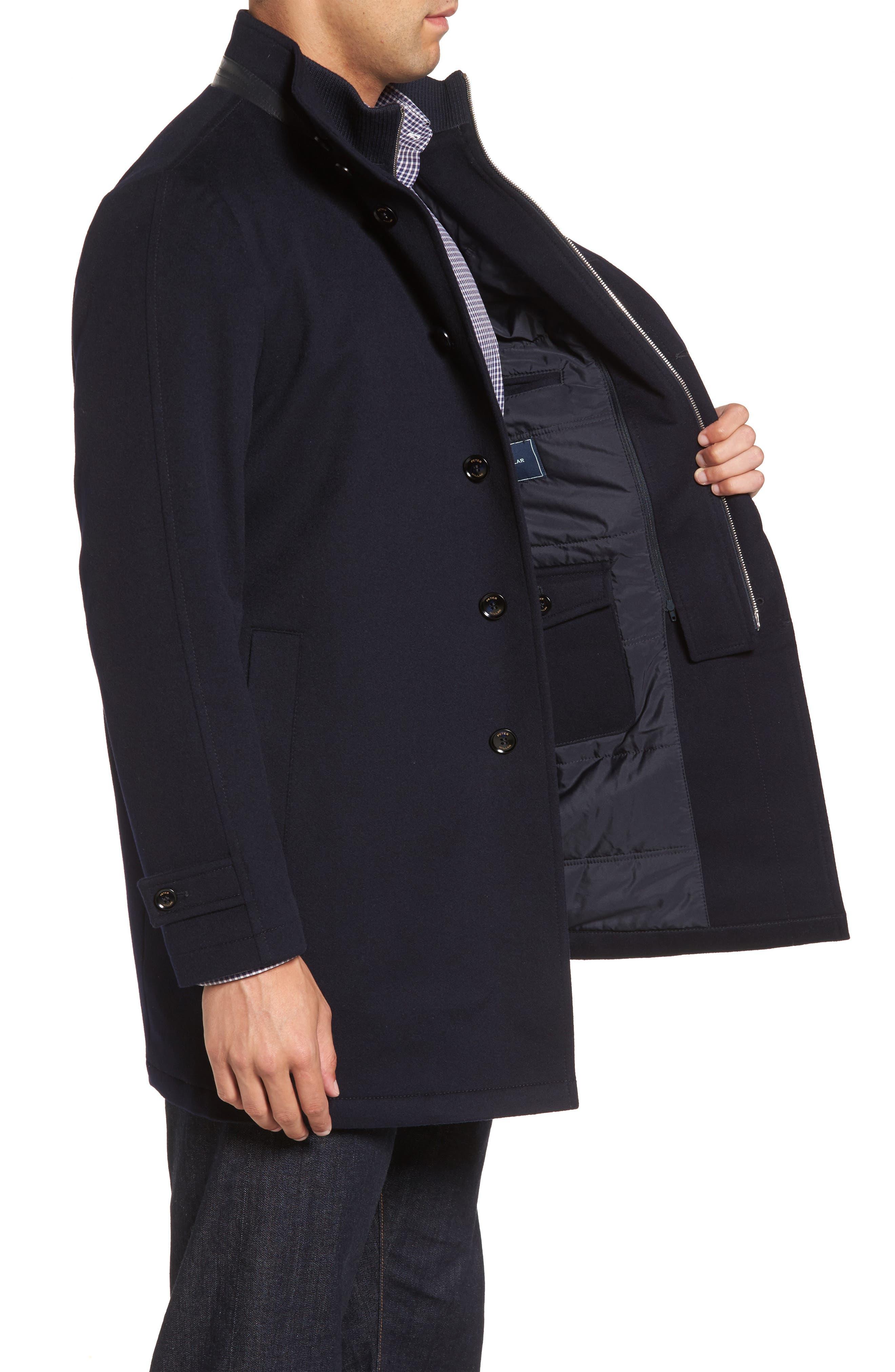 Peter Millar Horizon Wool Overcoat,                             Alternate thumbnail 4, color,                             Black