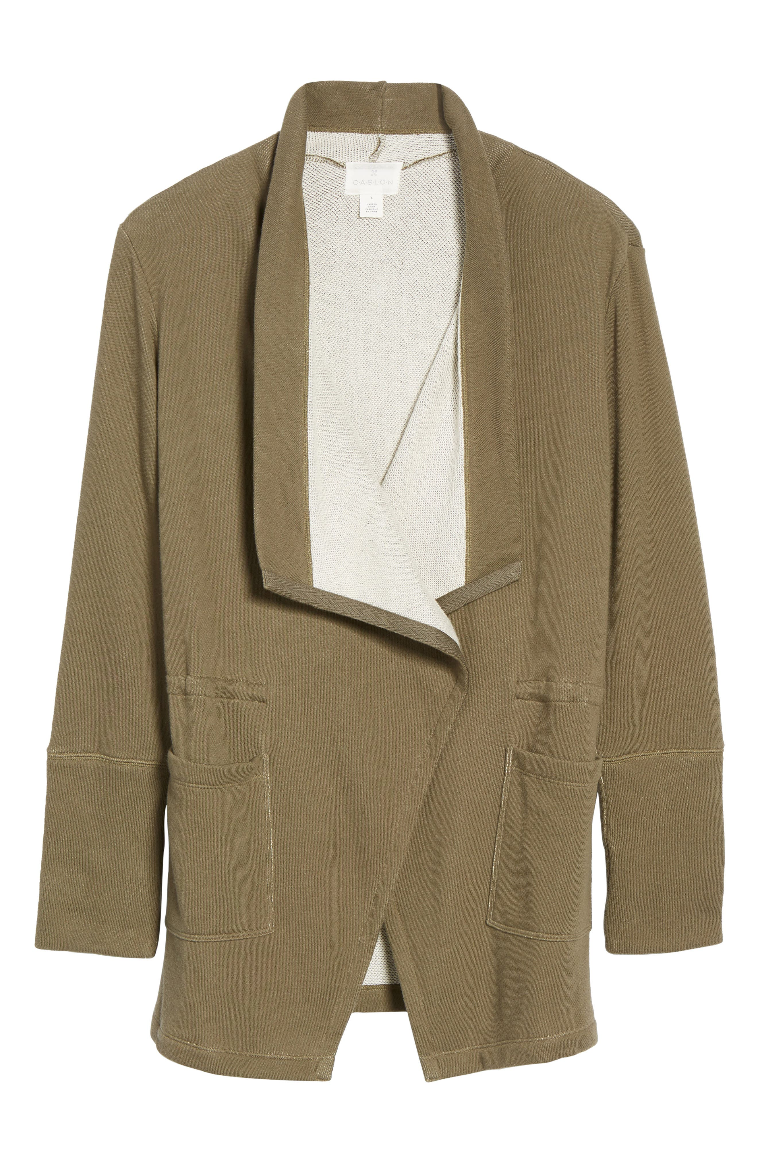 Alternate Image 6  - Caslon® Asymmetrical Drape Collar Terry Jacket (Regular & Petite)