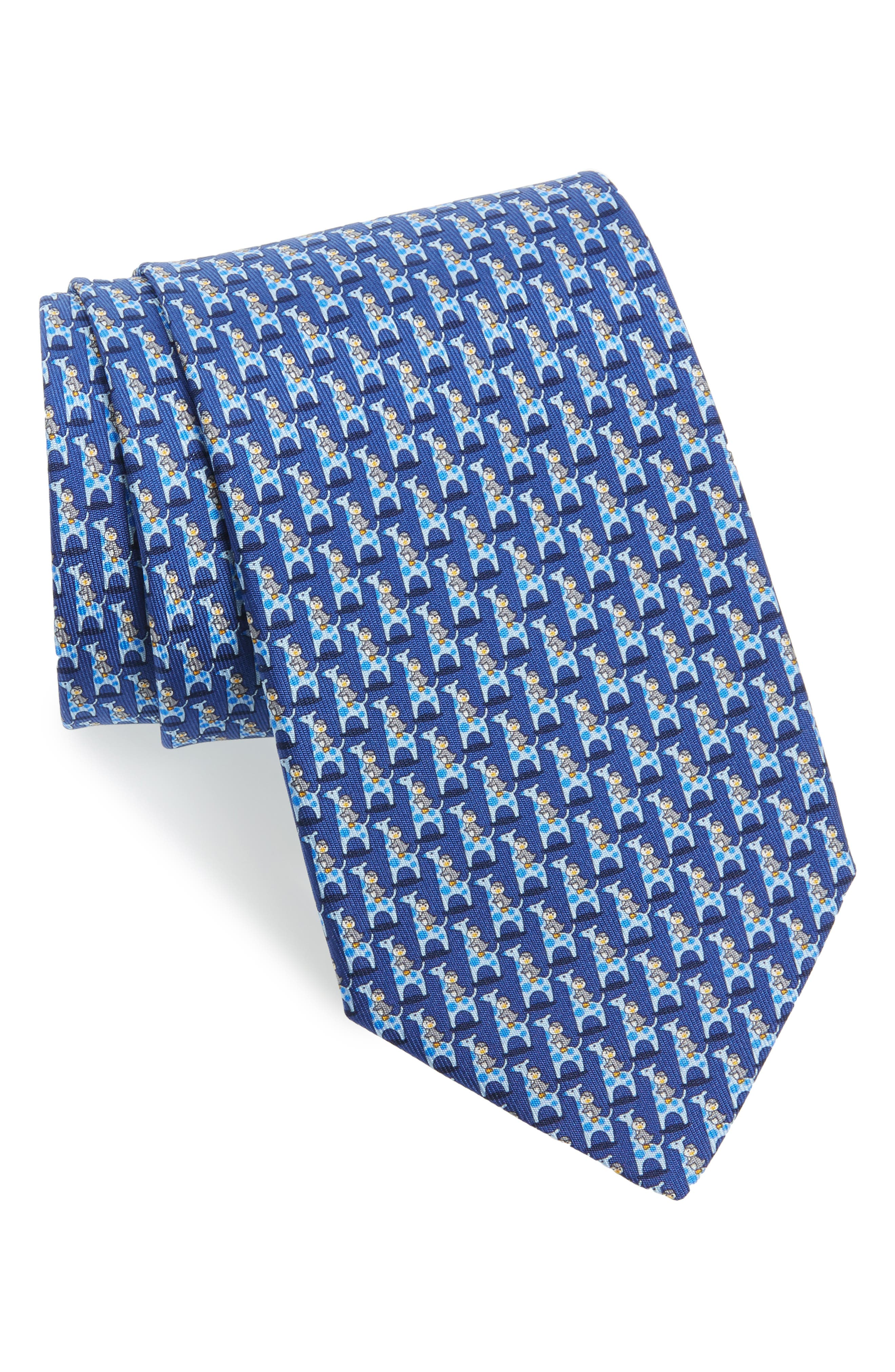 Salvatore Ferragamo Puffin & Giraffe Silk Tie