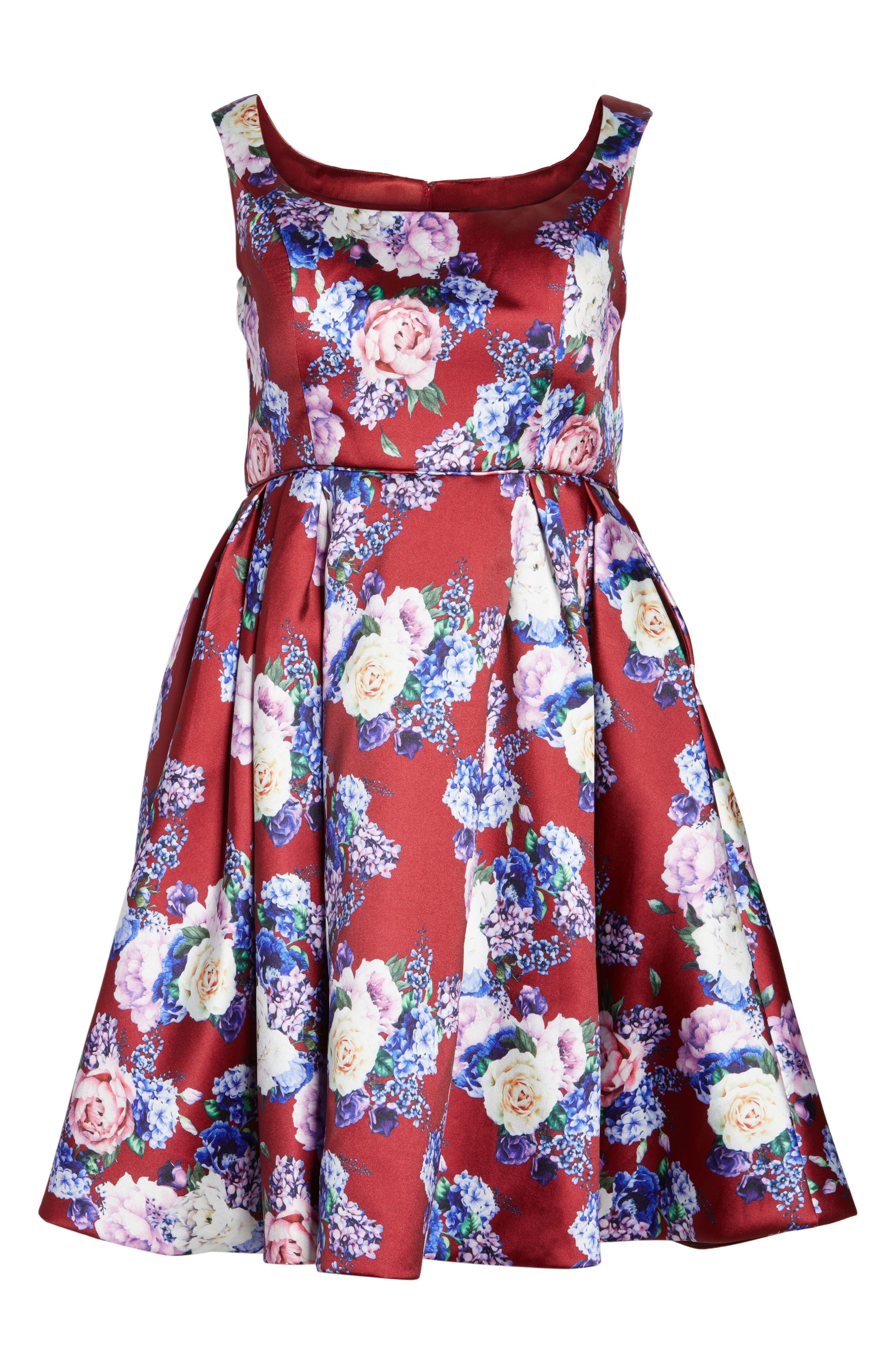 Floral Fit & Flare Dress,                             Alternate thumbnail 6, color,                             Burgundy/ Multi