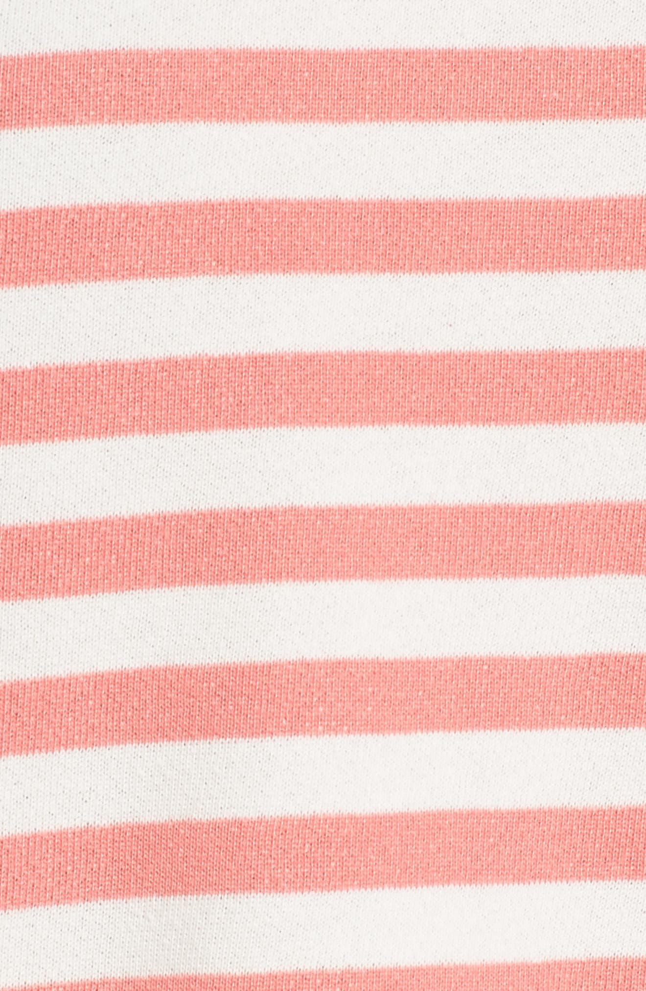 Halogen High/Low Cross Back Sweatshirt,                             Alternate thumbnail 5, color,                             Coral Sugar- White Stripe
