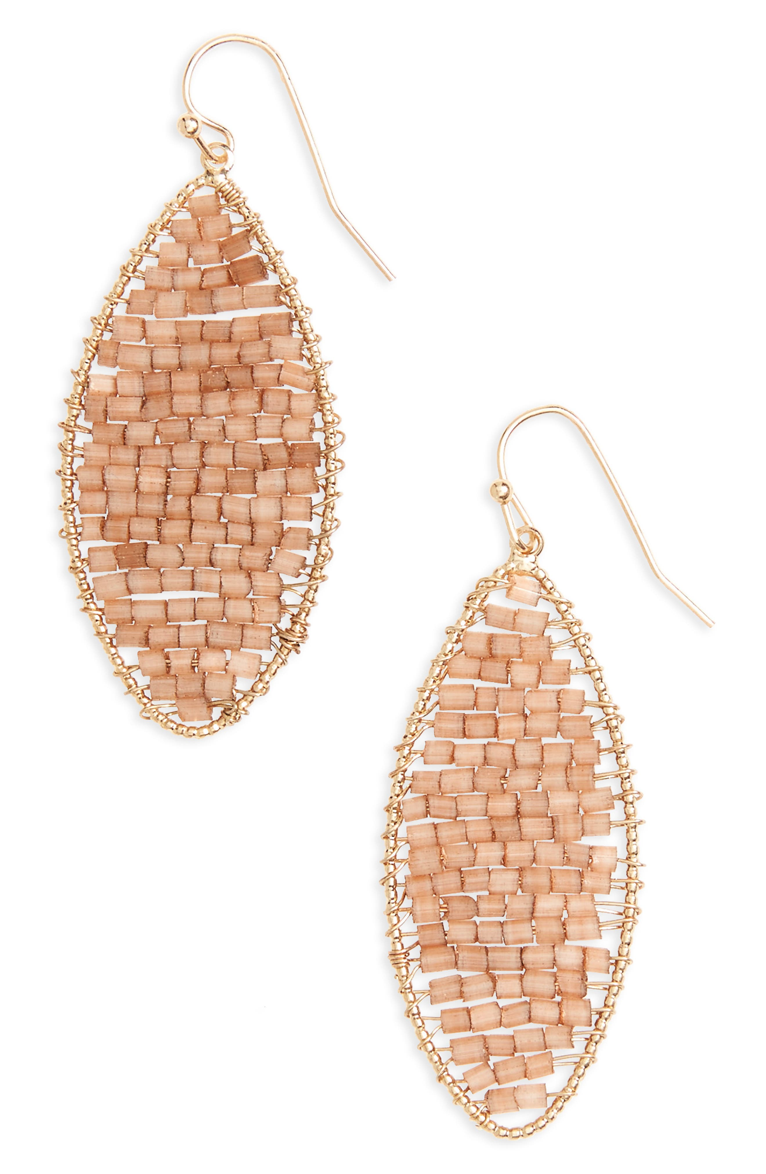 Marquise Beaded Drop Earrings,                         Main,                         color, Brown