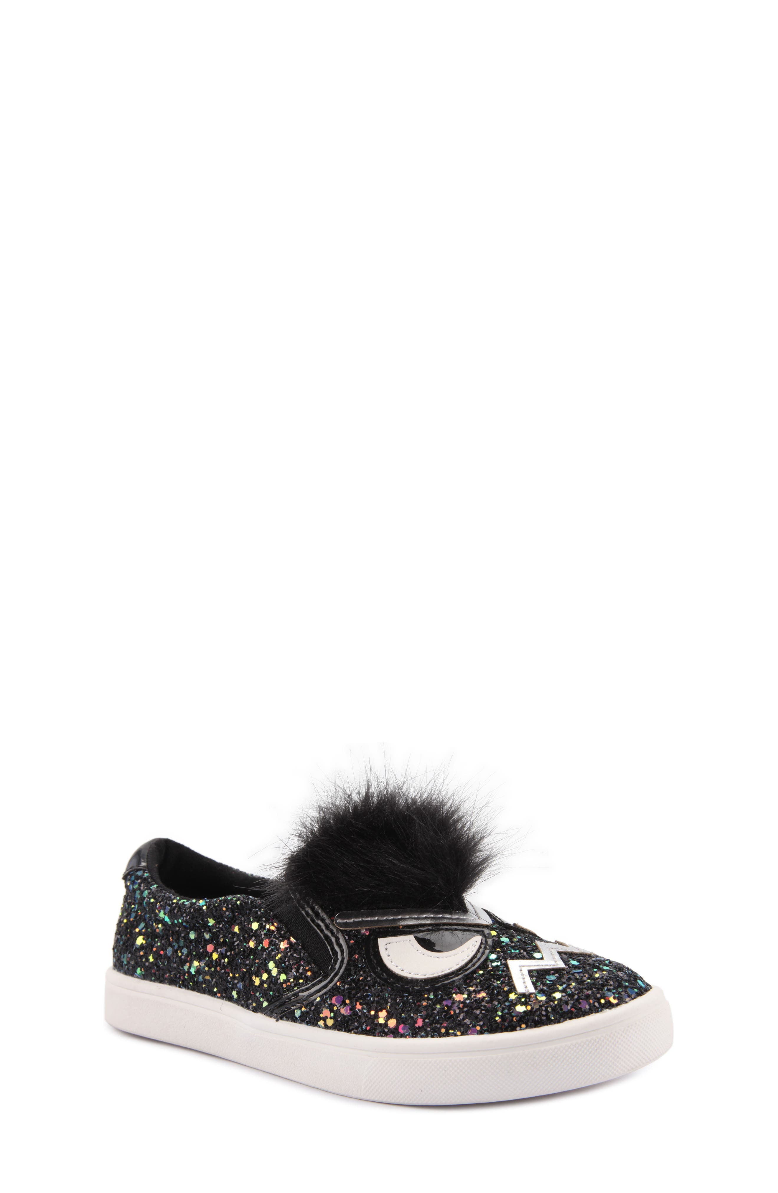 Alyx Faux Fur Glittery Slip-On Sneaker,                             Main thumbnail 1, color,                             Black Chunky Glitter