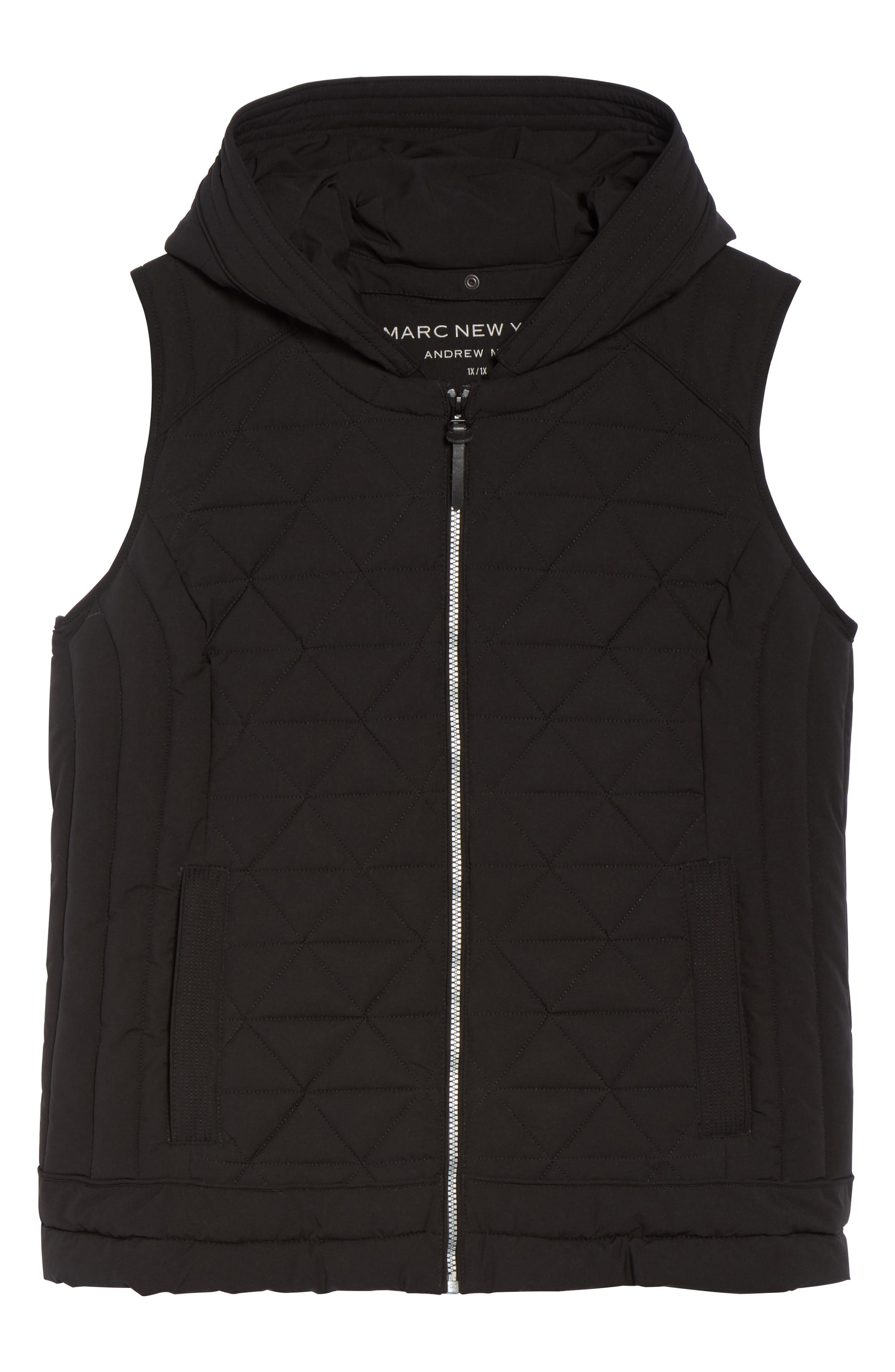 Sage Quilted Vest,                             Alternate thumbnail 6, color,                             Black