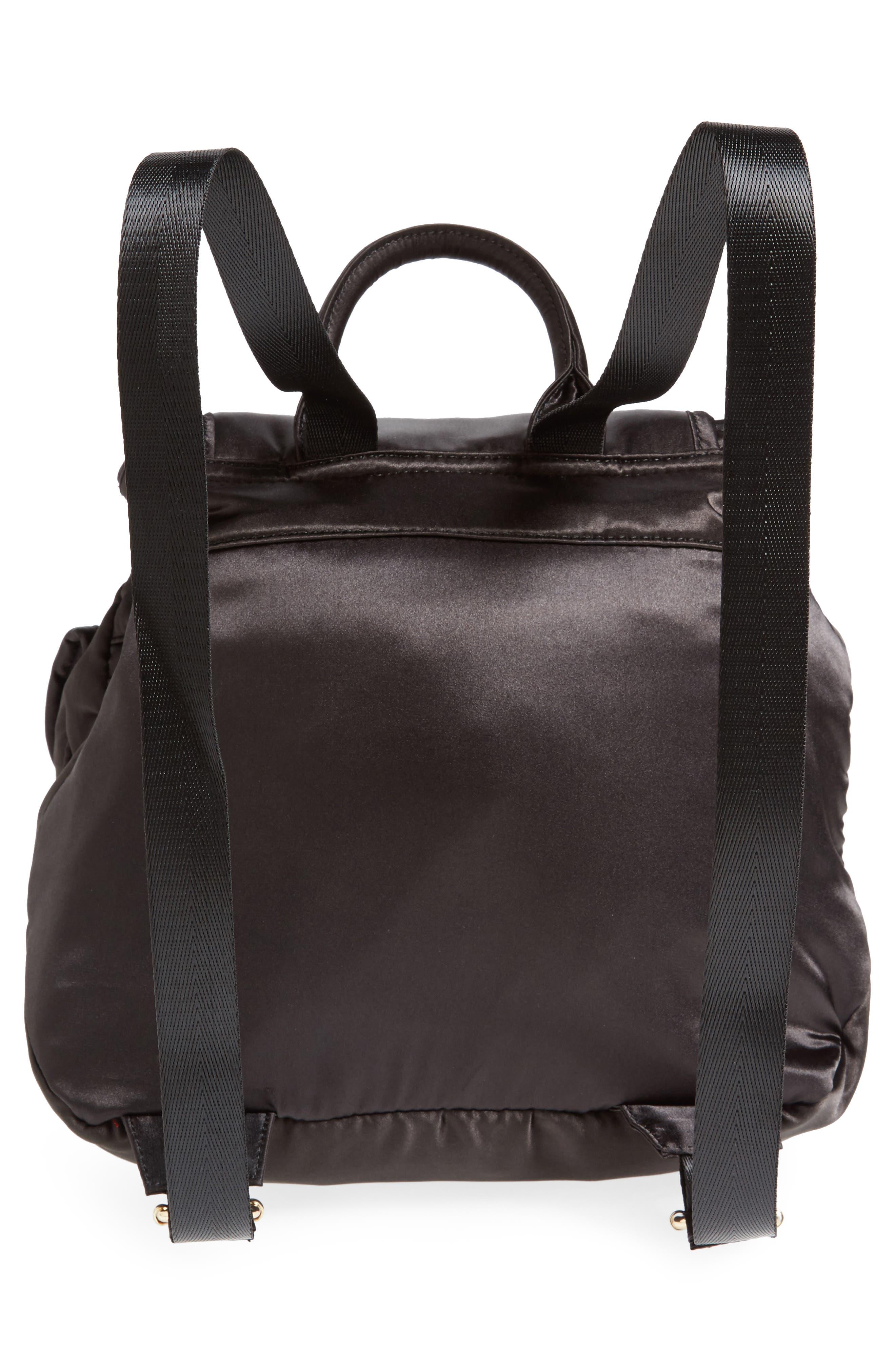 Small Satin Backpack,                             Alternate thumbnail 2, color,                             Black