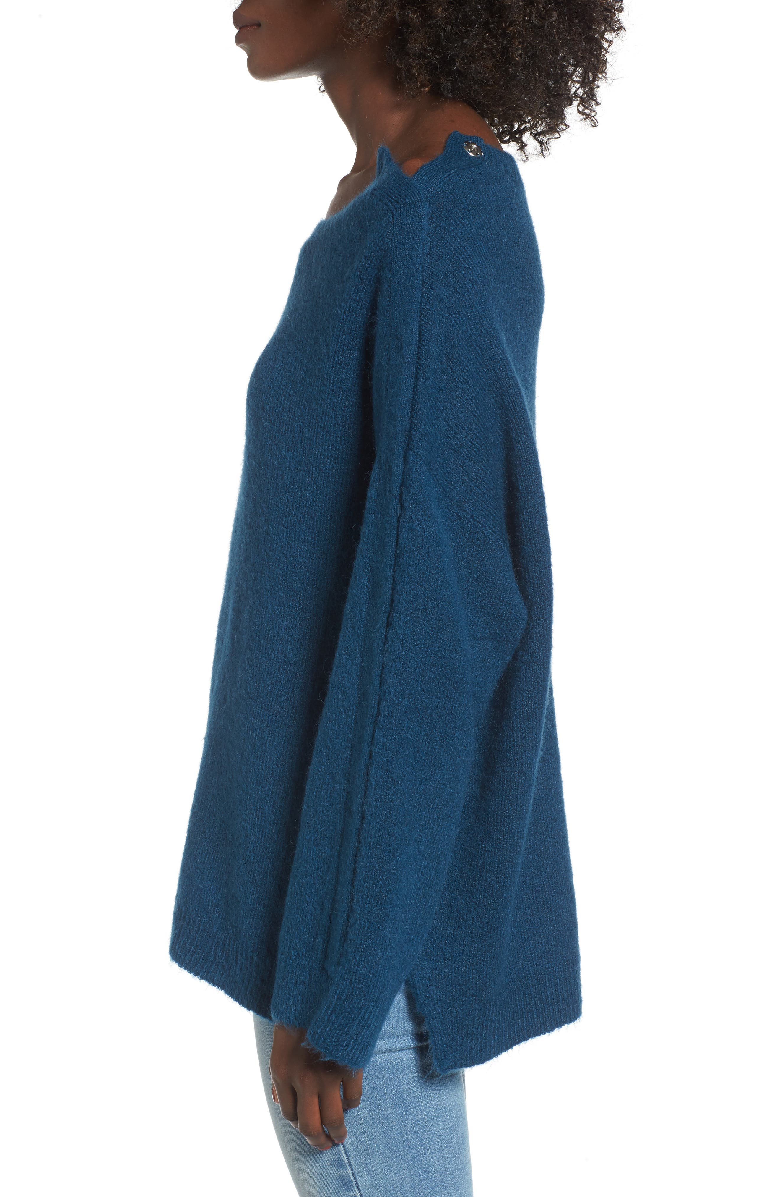 Snap Shoulder Sweater,                             Alternate thumbnail 3, color,                             Blue Ceramic
