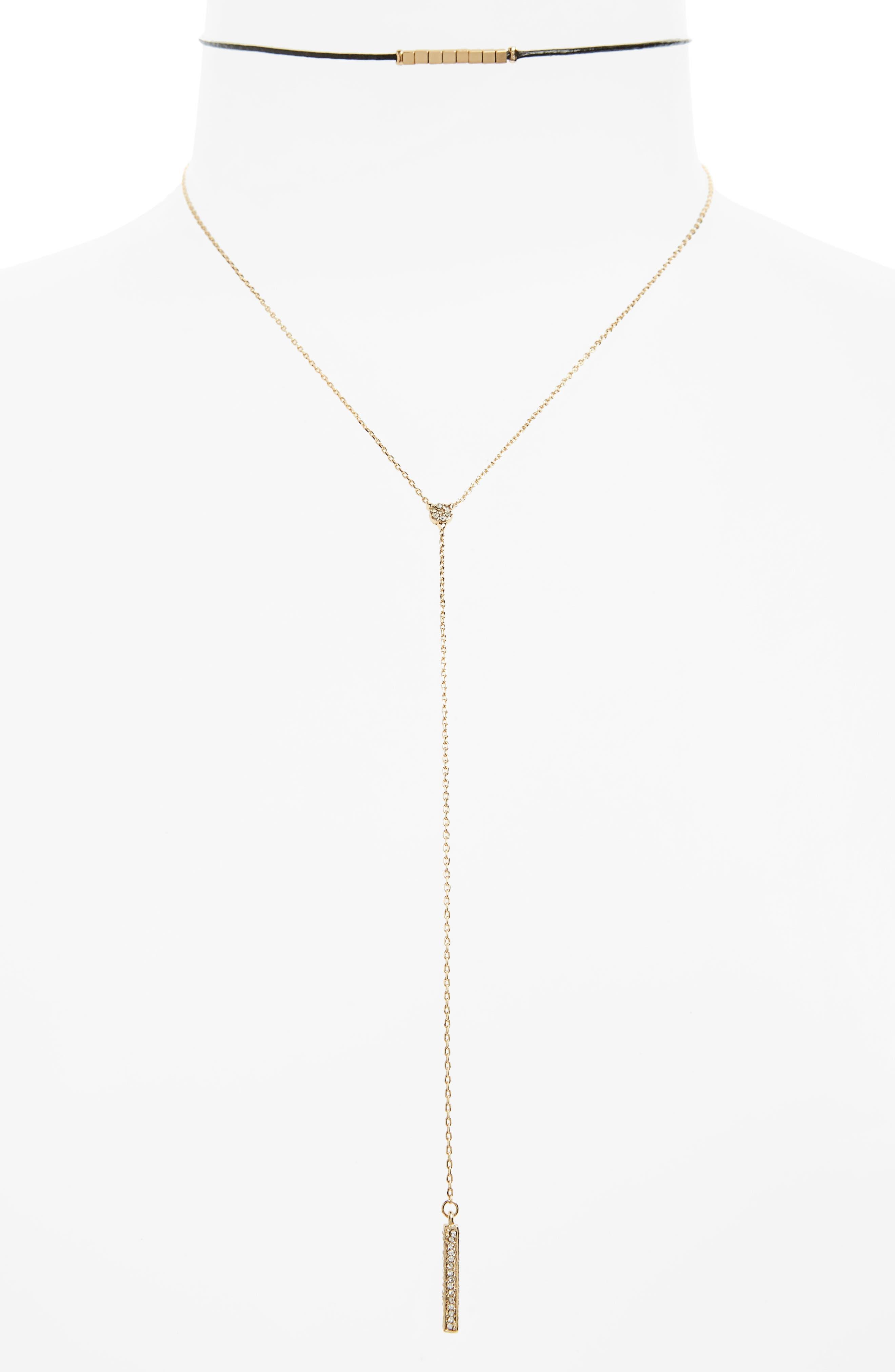 BP. 2-Pack Beaded Choker & Lariat Necklace