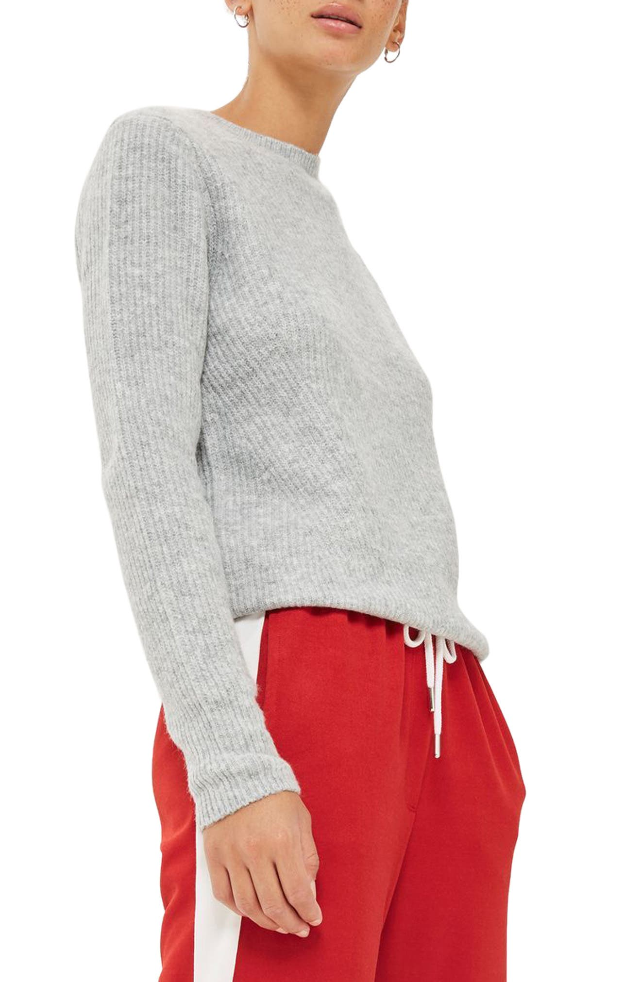 Main Image - Topshop Ribbed Crewneck Sweater