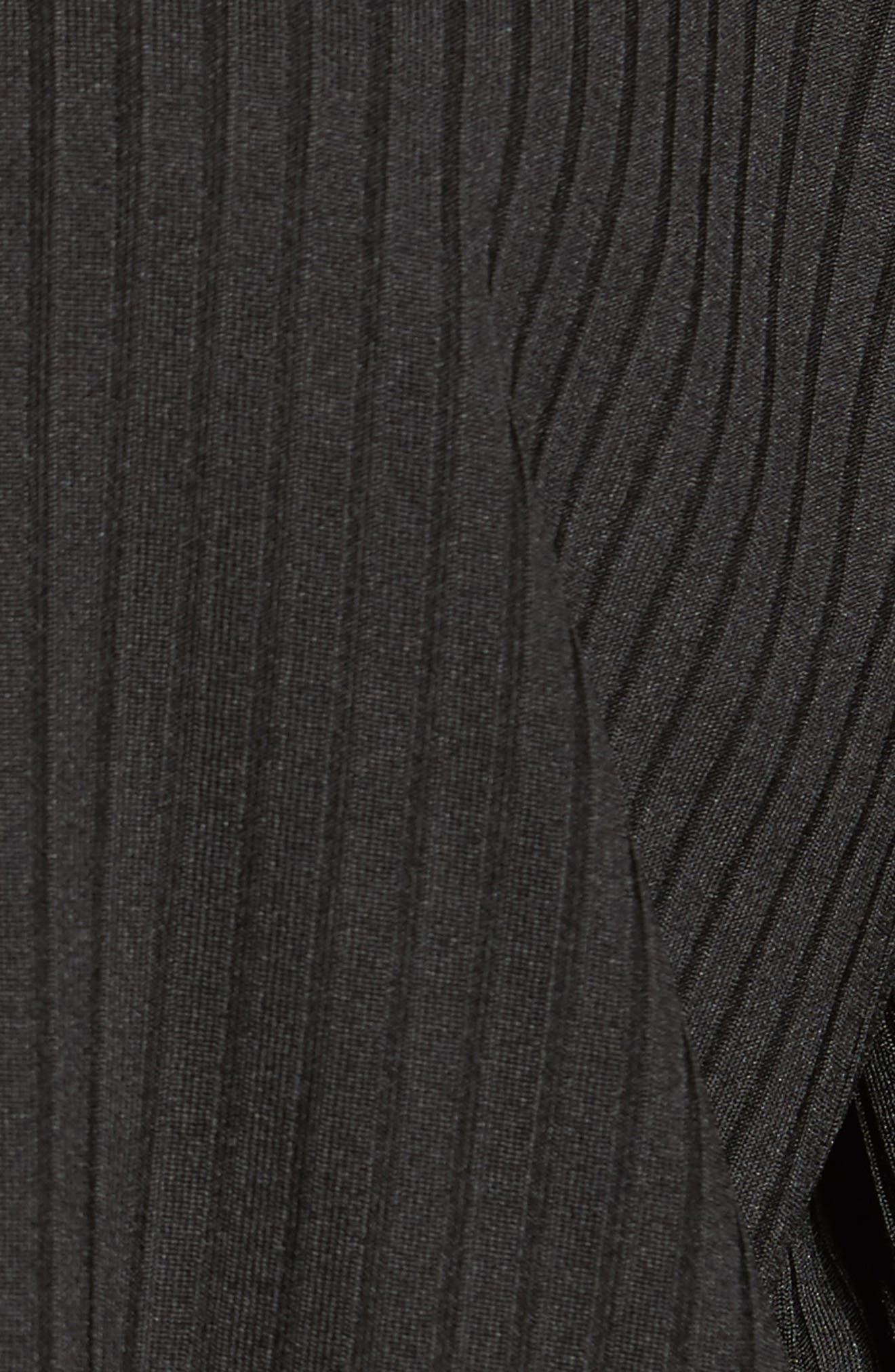 Ruffle Sleeve Ribbed Hoodie,                             Alternate thumbnail 6, color,                             Black