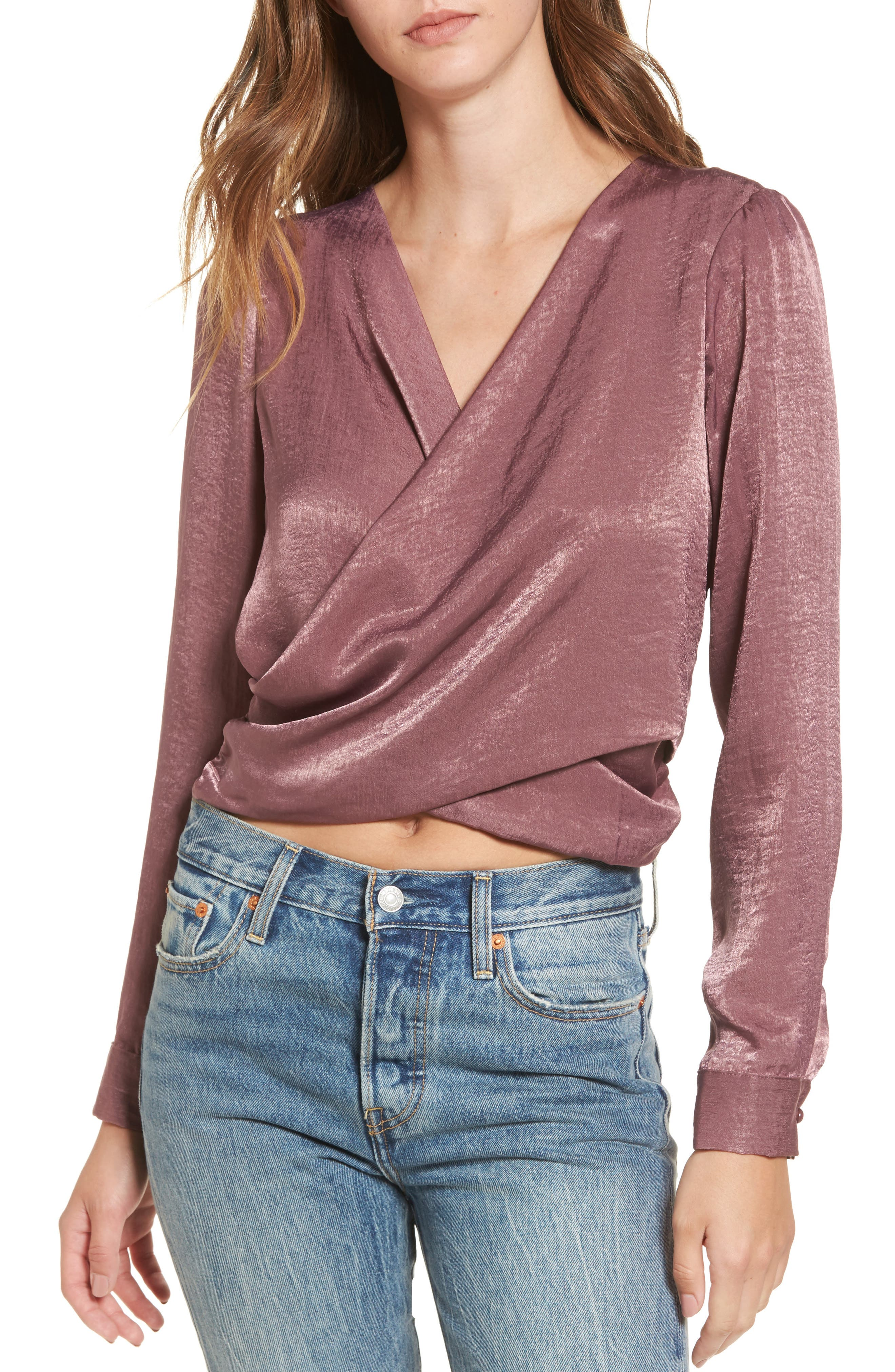 Sateen Tie Back Blouse,                         Main,                         color, Grape Shake 3182109Tcx