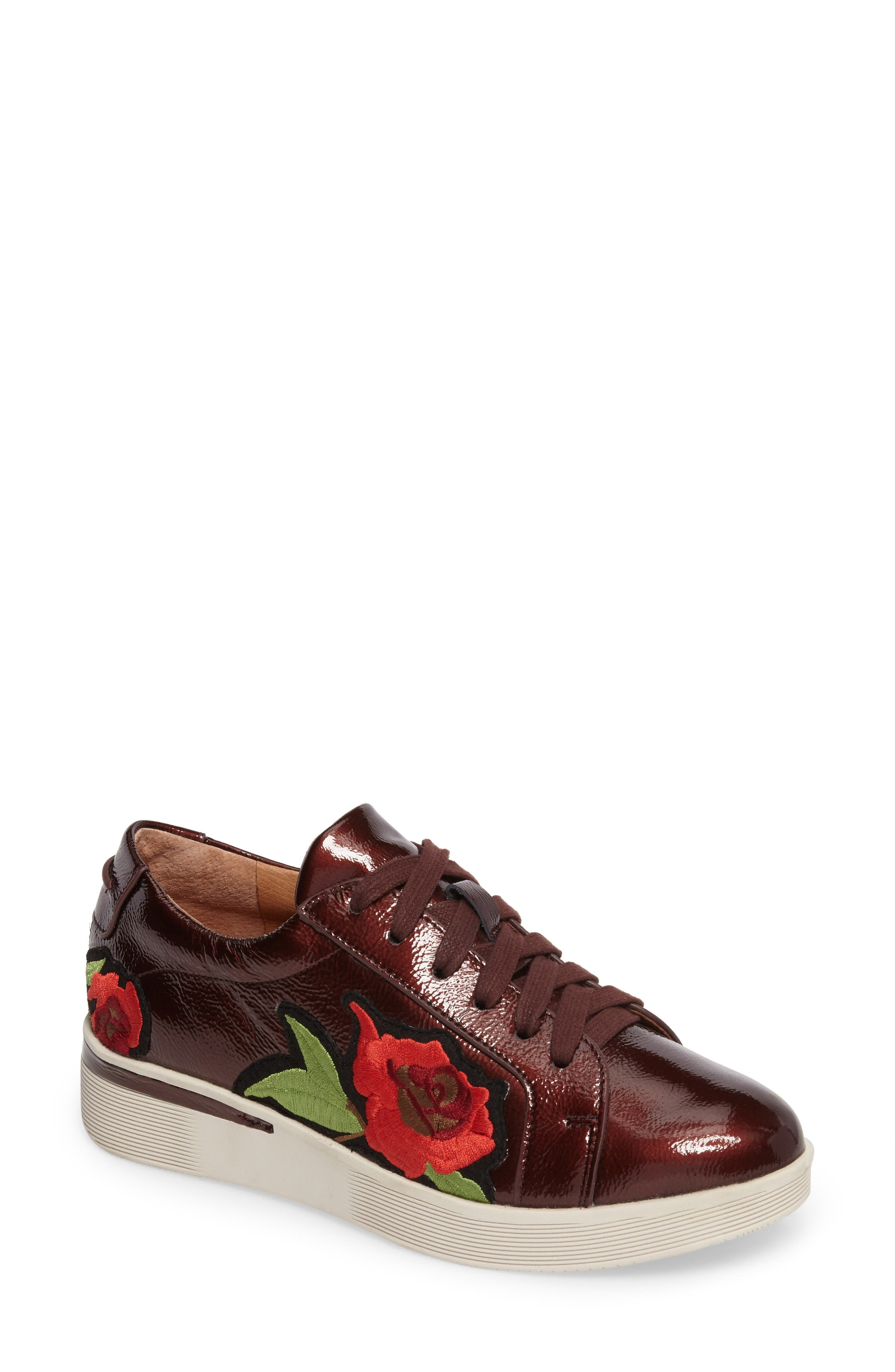 Gentle Soles Haddie Rose Sneaker,                             Main thumbnail 1, color,                             Wine Patent Leather