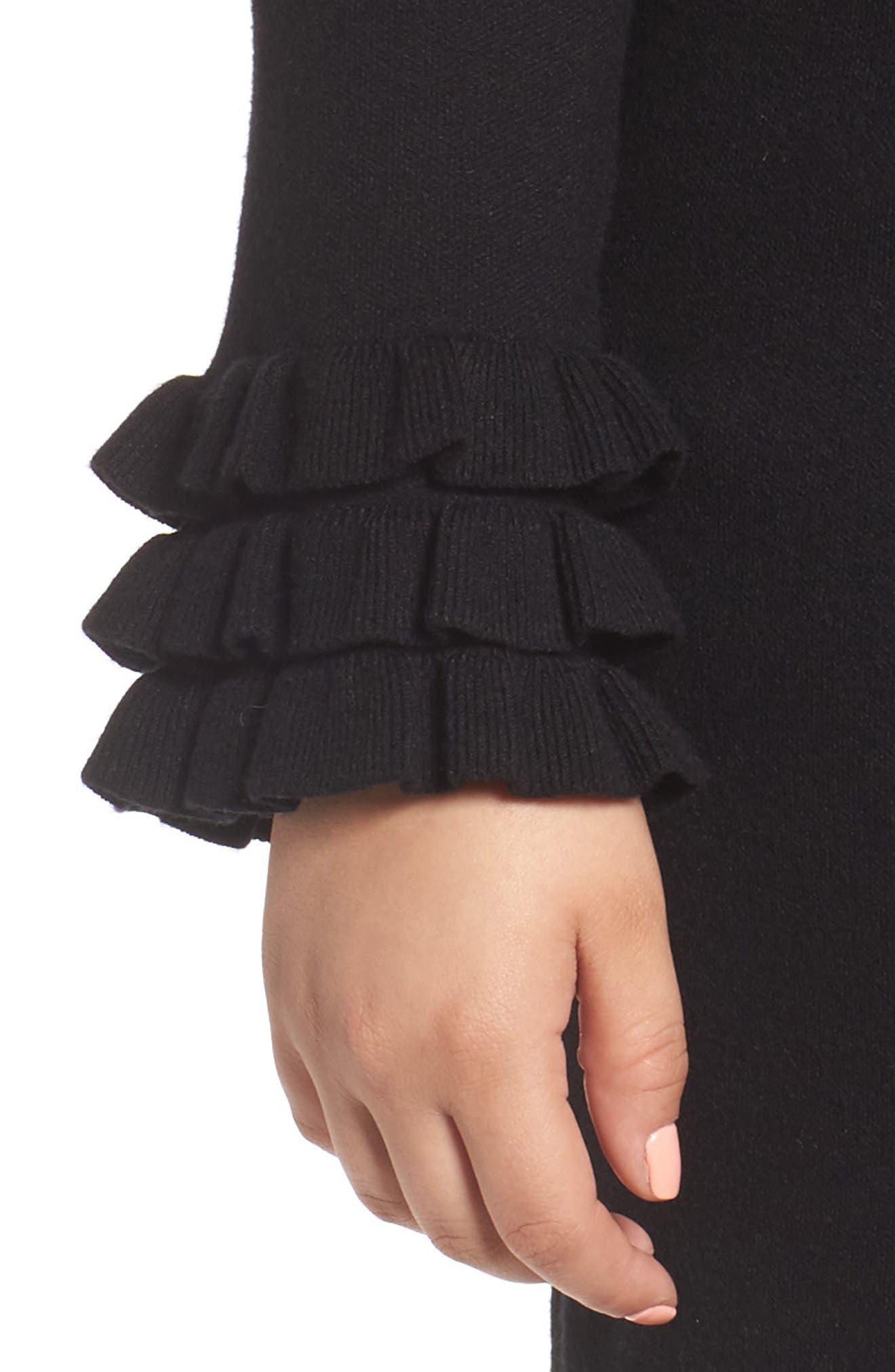 Ruffle Sleeve Sweater Dress,                             Alternate thumbnail 4, color,                             Black