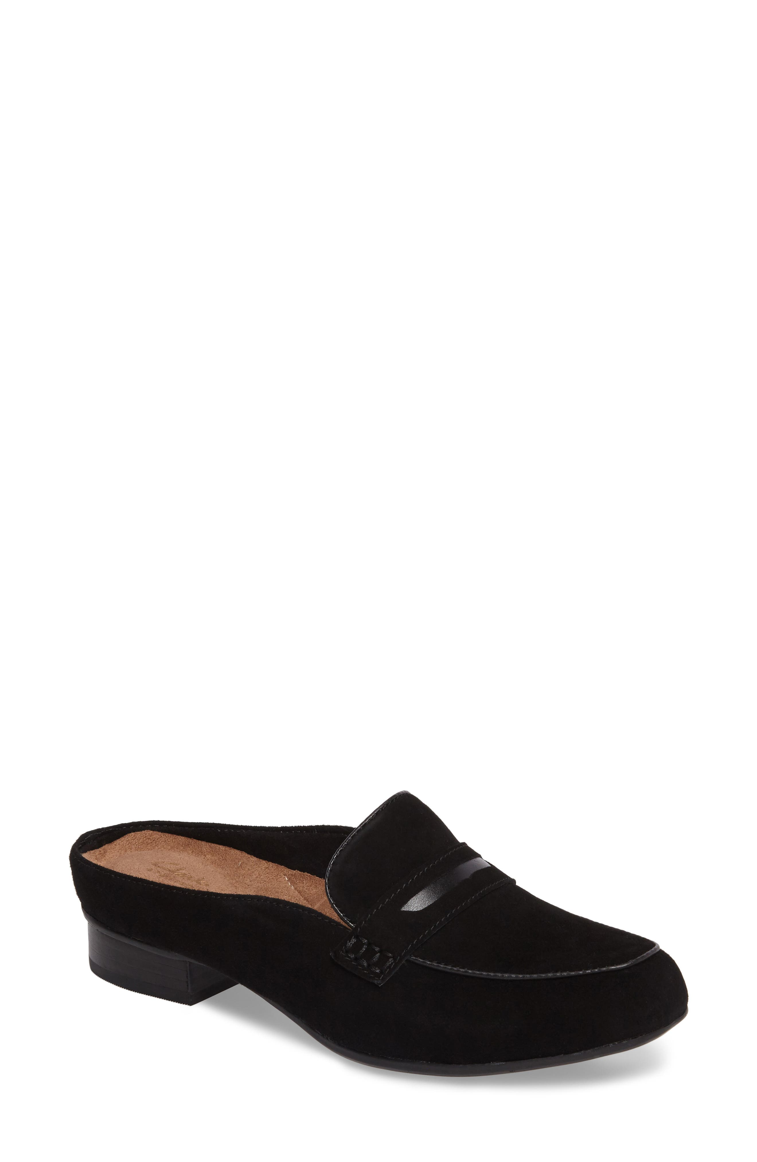 Keesha Donna Loafer Mule,                             Main thumbnail 1, color,                             Black Suede