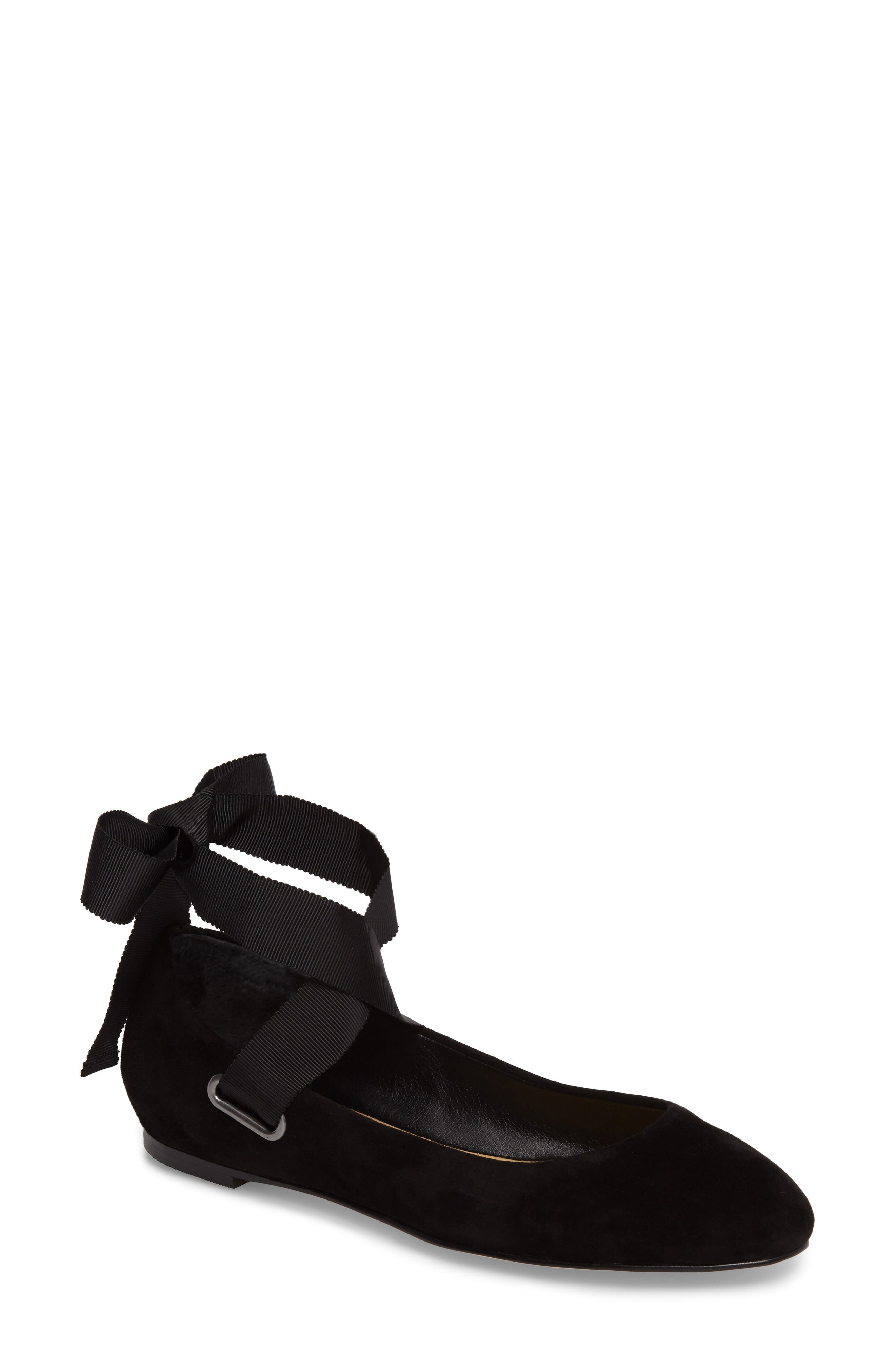 Renee Ankle Tie Flat,                             Main thumbnail 1, color,                             Black Suede