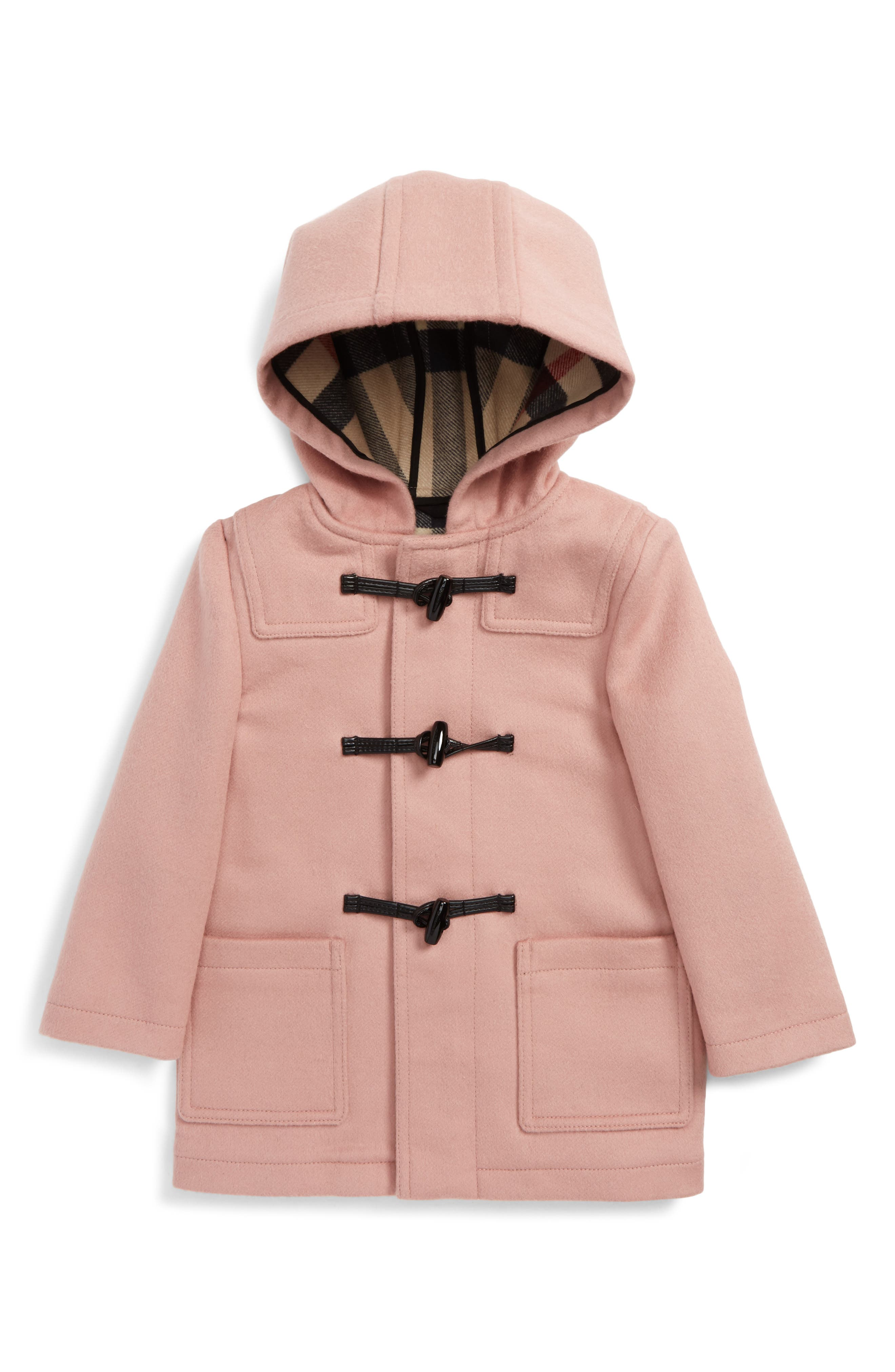 Alternate Image 1 Selected - Burberry Brogan Hooded Wool Toggle Coat (Baby Girls & Toddler Girls)