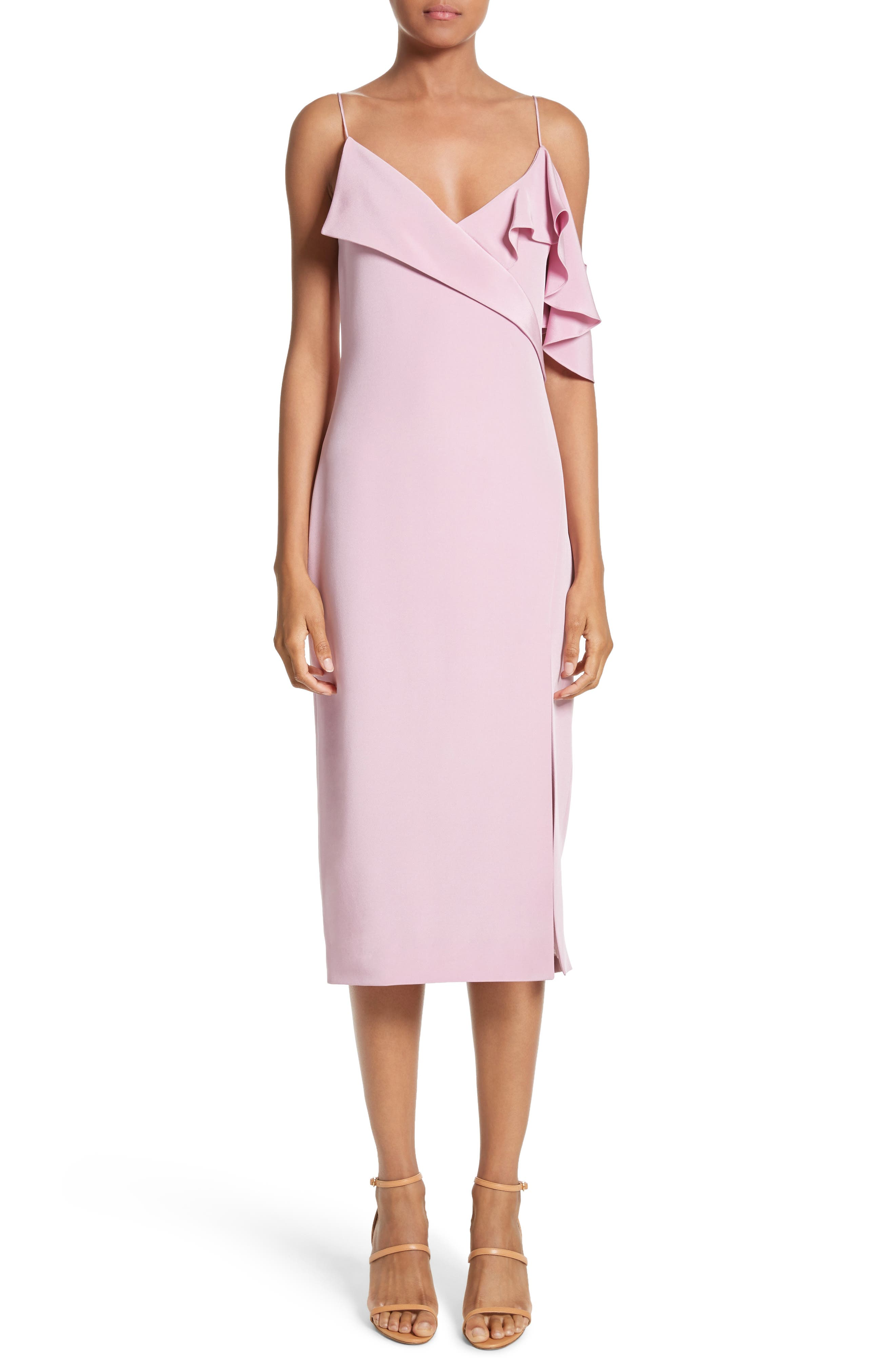 Asymmetrical Ruffle Silk Dress,                         Main,                         color, Quartz