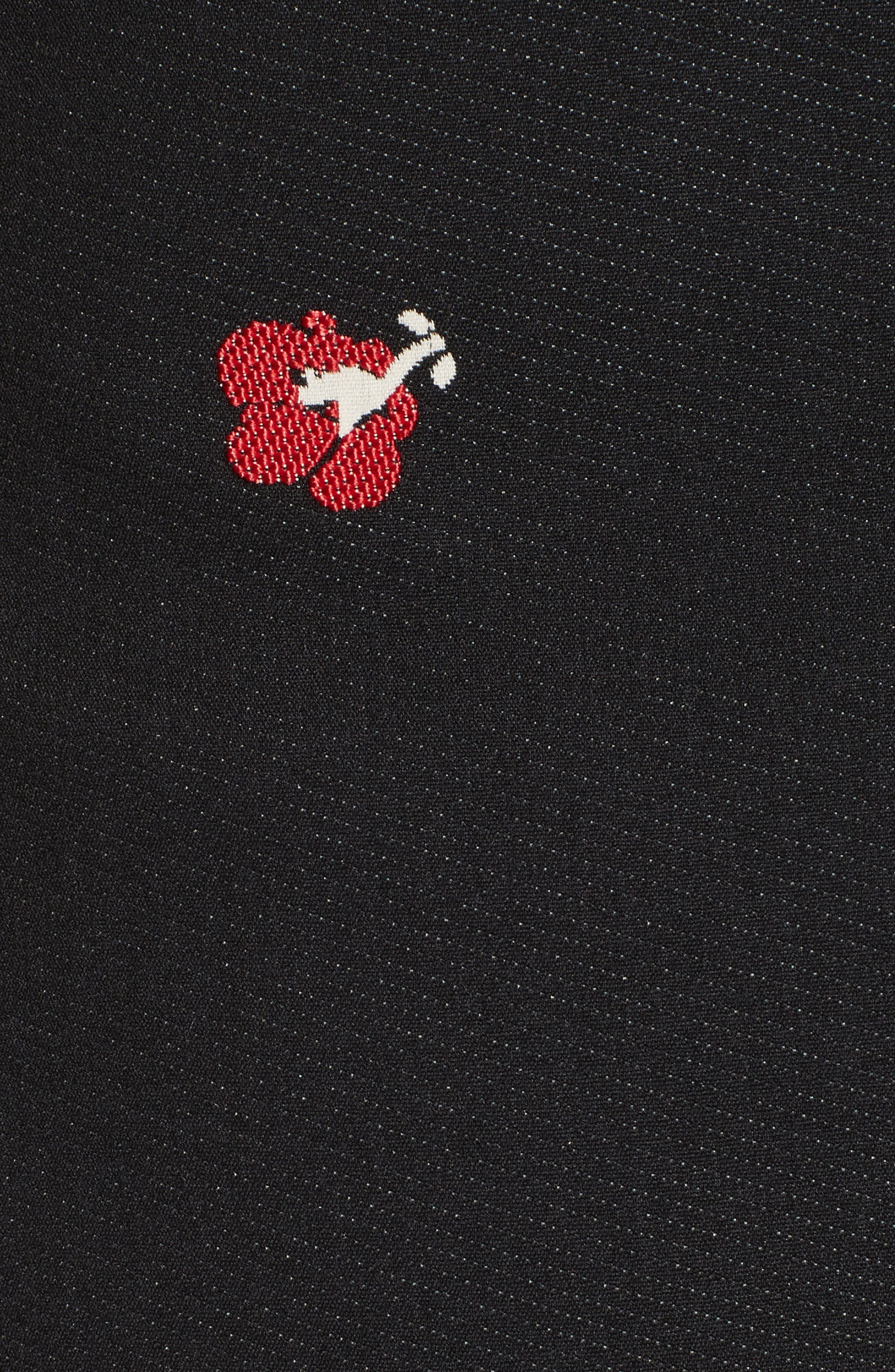 Flower Print Pencil Dress,                             Alternate thumbnail 5, color,                             Black/ Red
