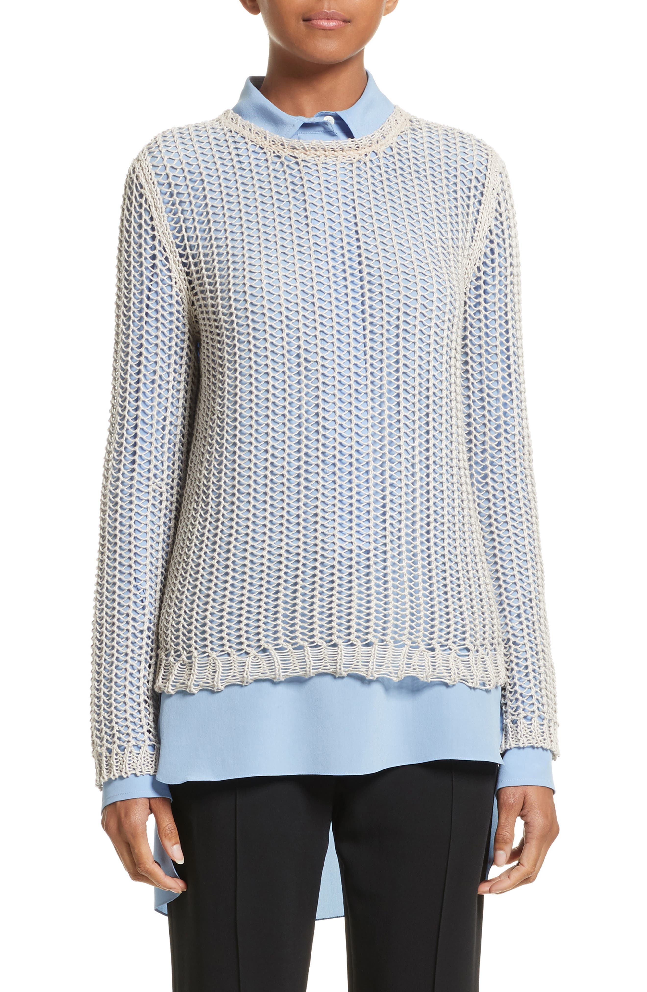 Fishnet Sweater,                         Main,                         color, Silver