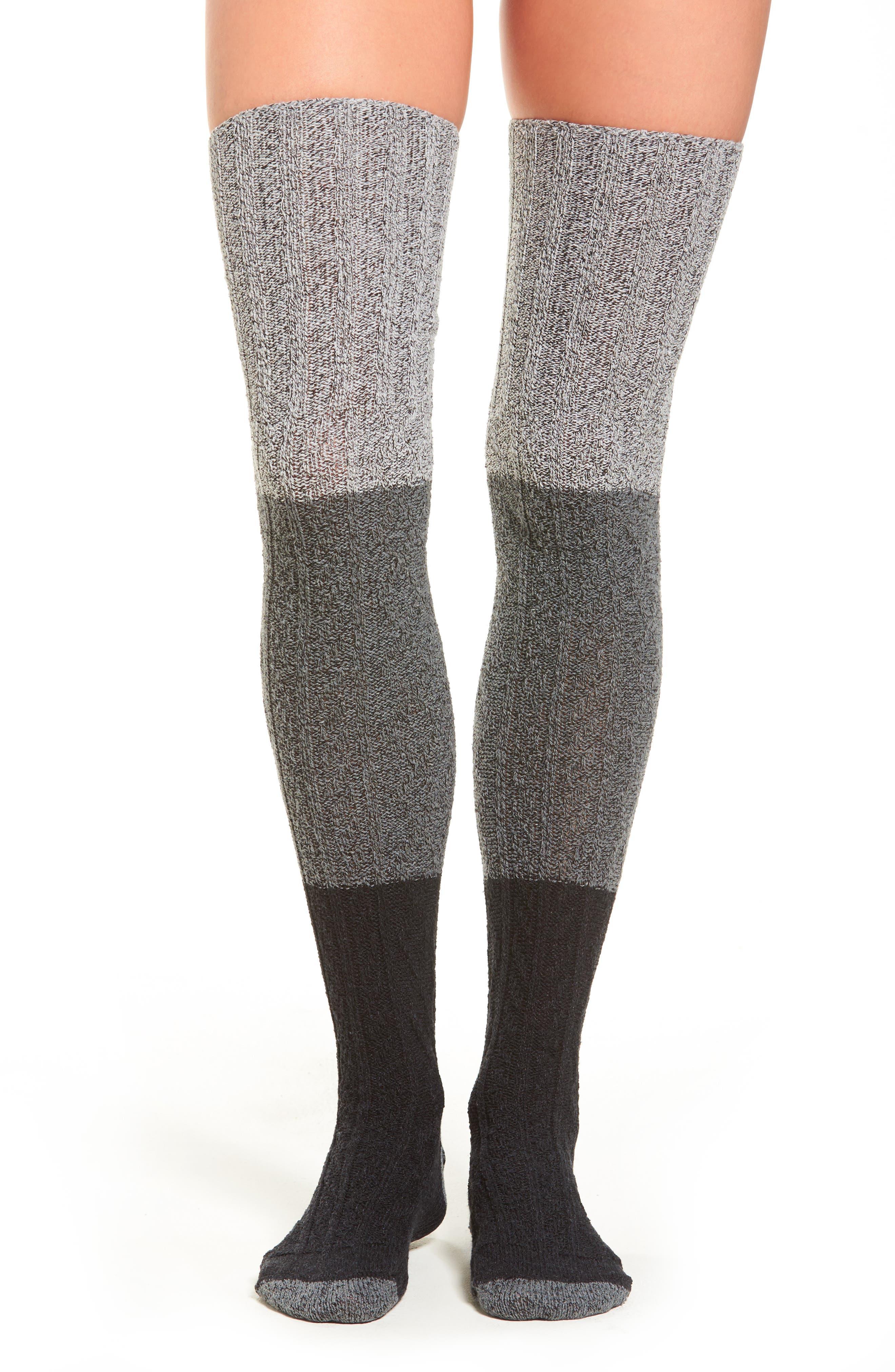 Peony & Moss Colorblock Over the Knee Sweater Socks