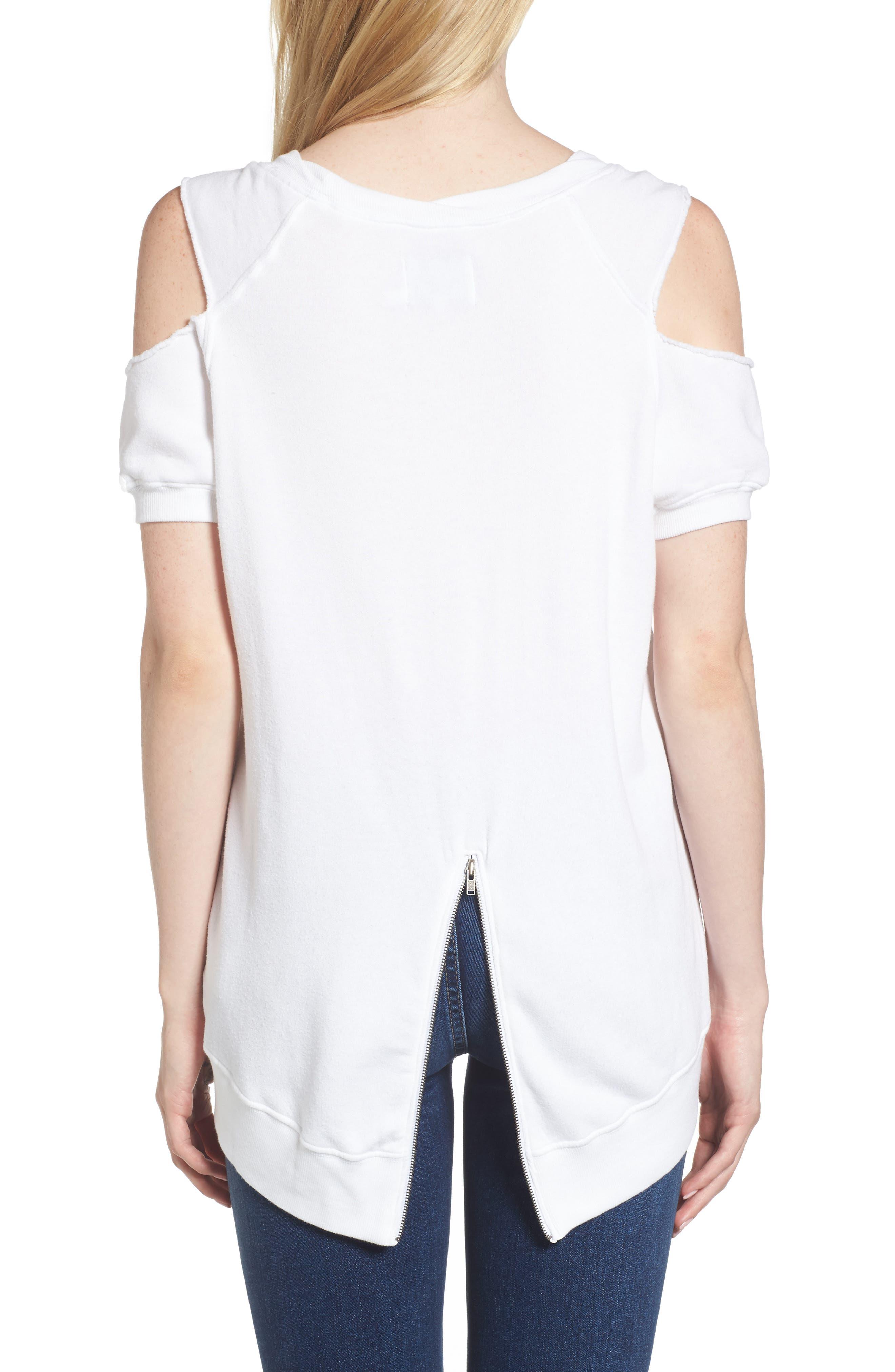 Cold Shoulder Sweatshirt,                             Alternate thumbnail 2, color,                             White