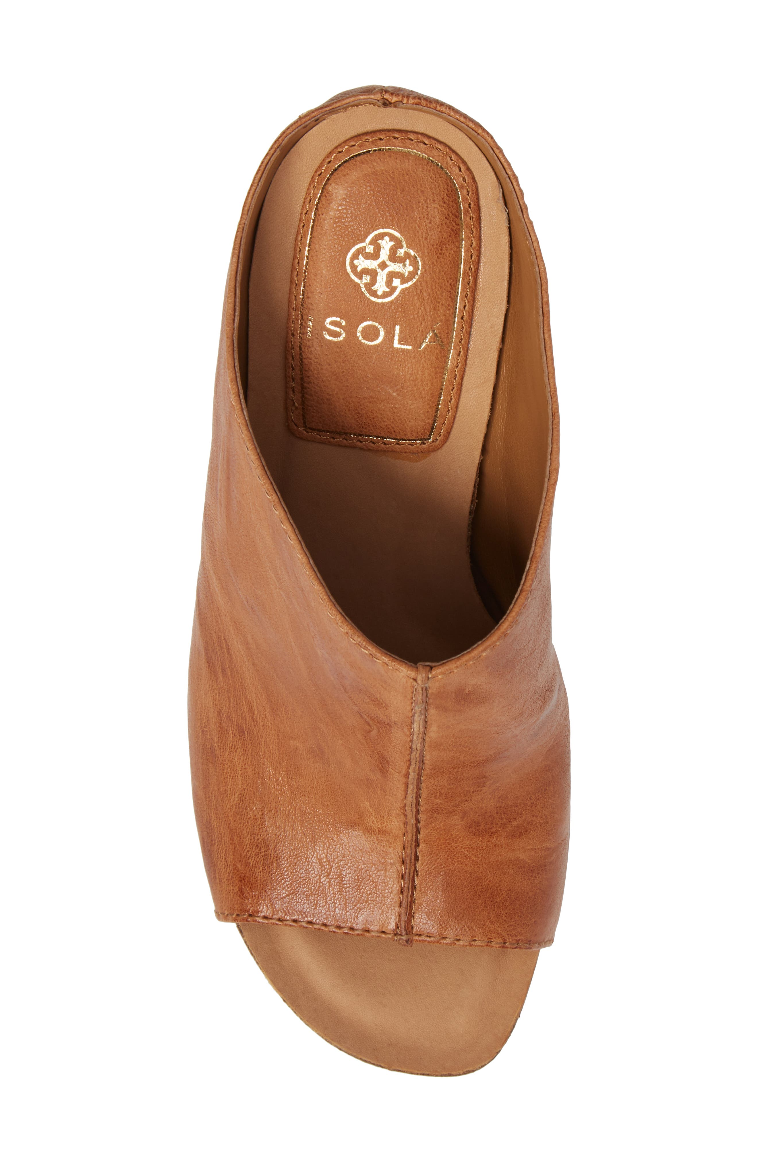 Isabella Open Toe Mule,                             Alternate thumbnail 5, color,                             Luggage Leather