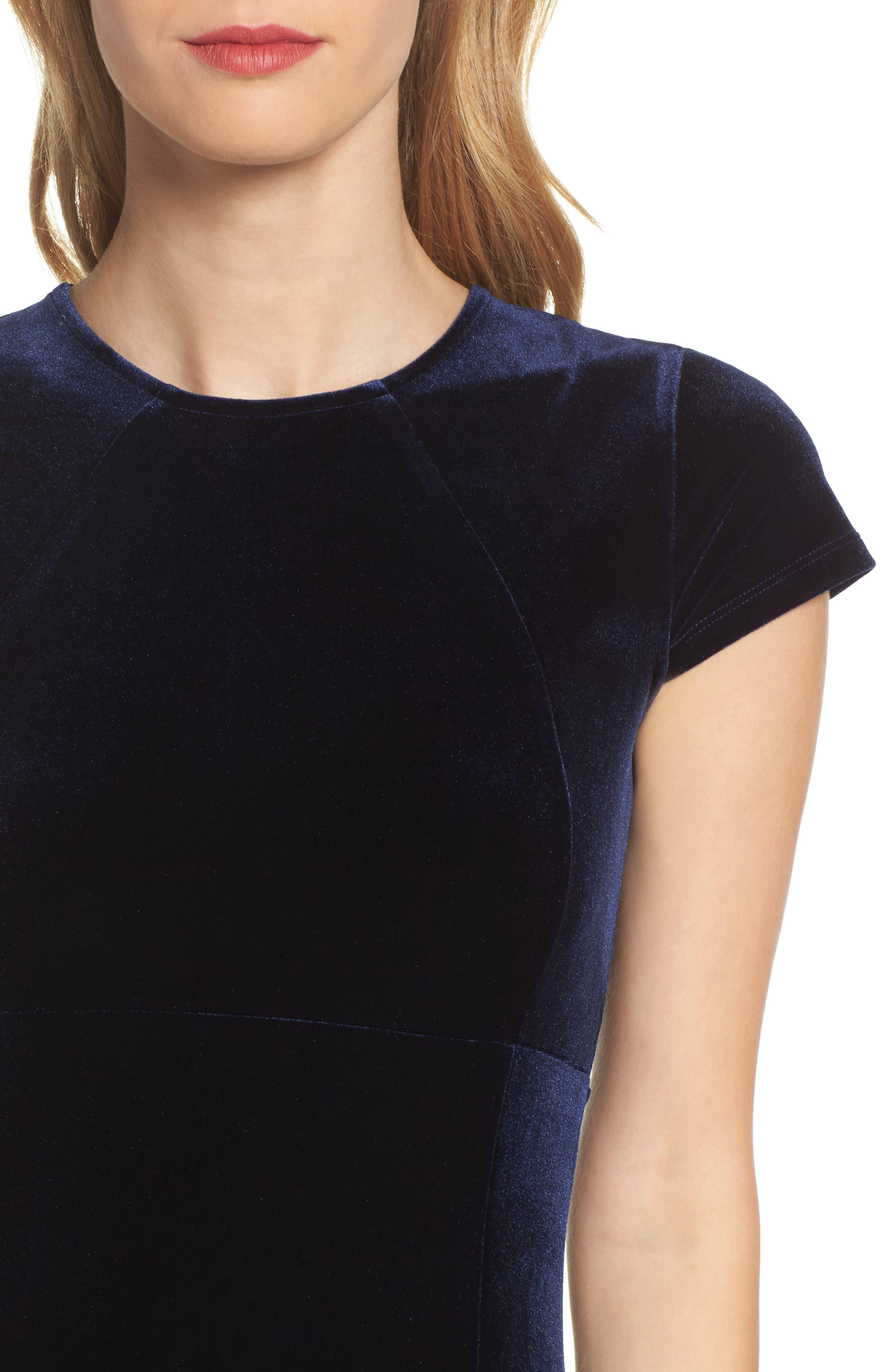 Vista Velvet Midi Dress,                             Alternate thumbnail 4, color,                             Dark Navy