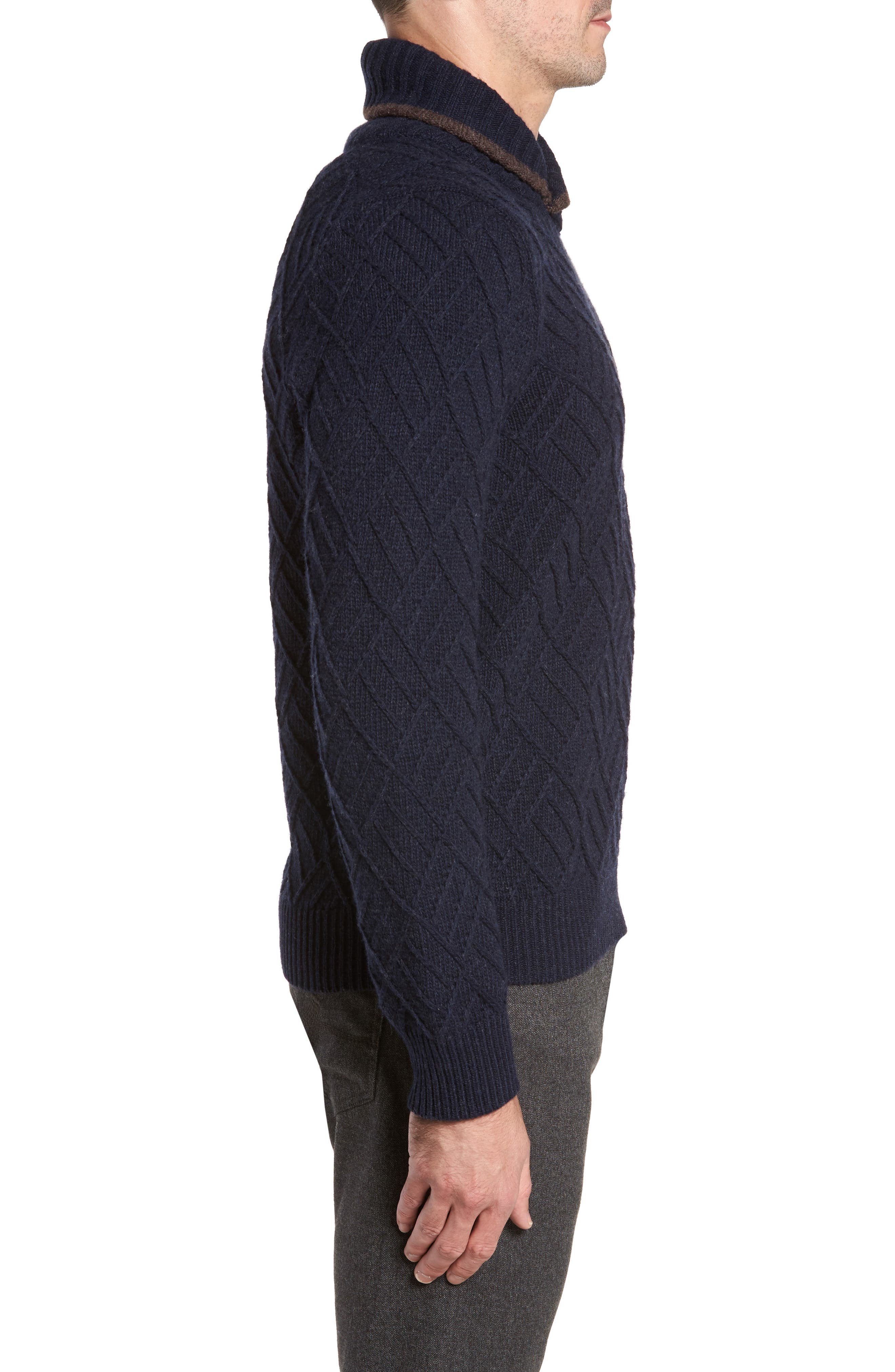 Textured Wool Sweater,                             Alternate thumbnail 3, color,                             Navy