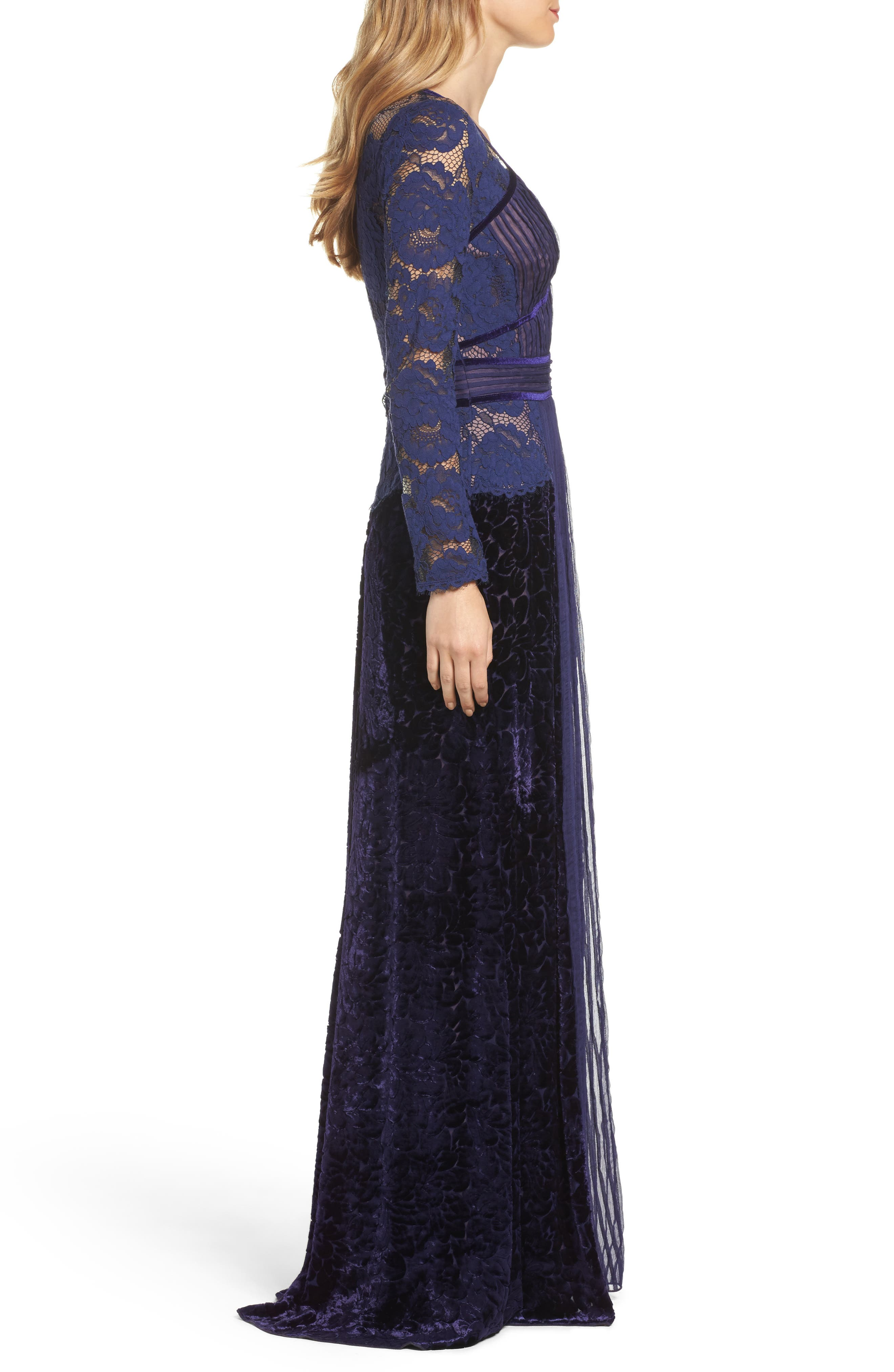 Mixed Media A-Line Gown,                             Alternate thumbnail 3, color,                             Notte