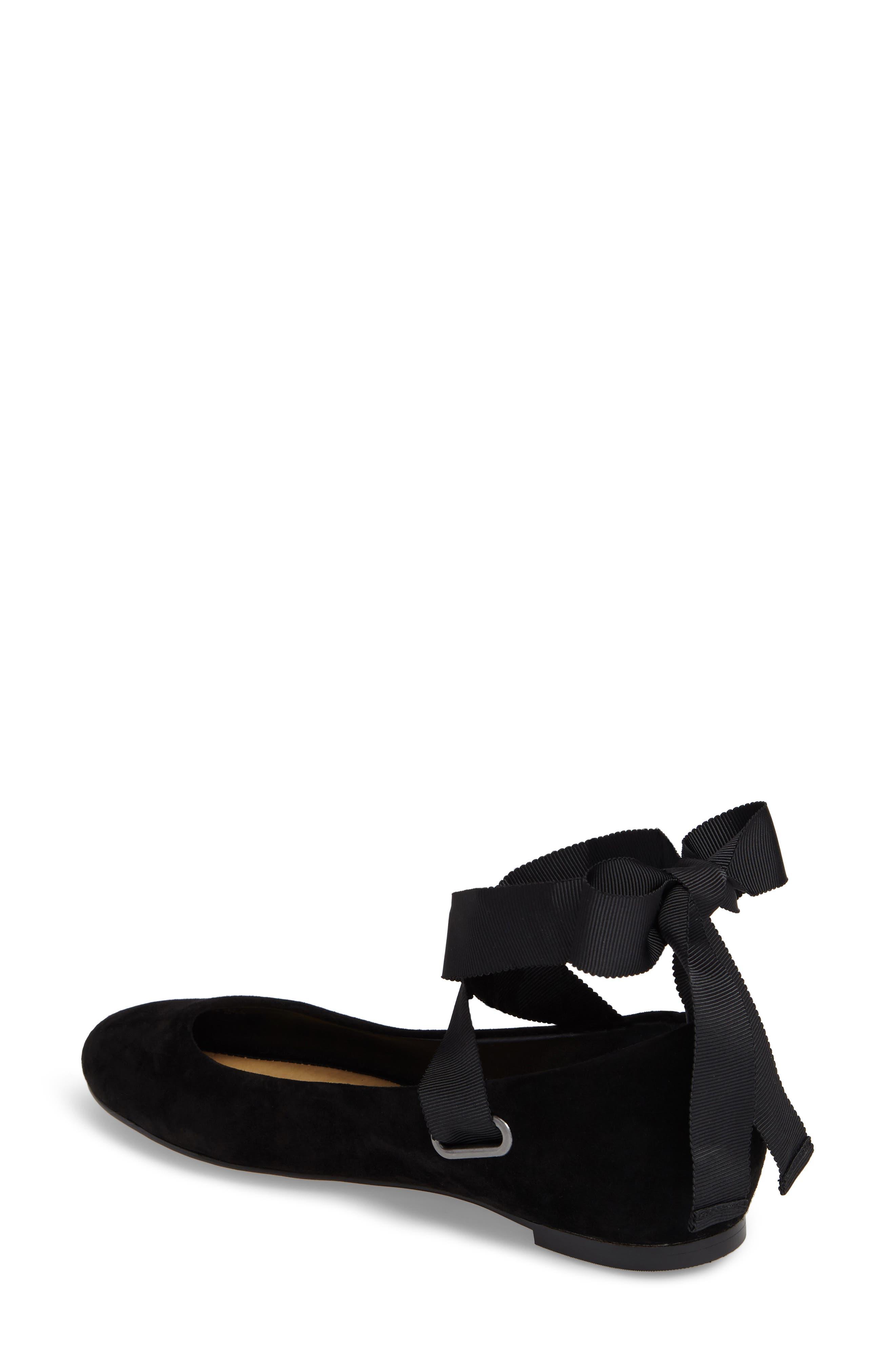 Renee Ankle Tie Flat,                             Alternate thumbnail 2, color,                             Black Suede