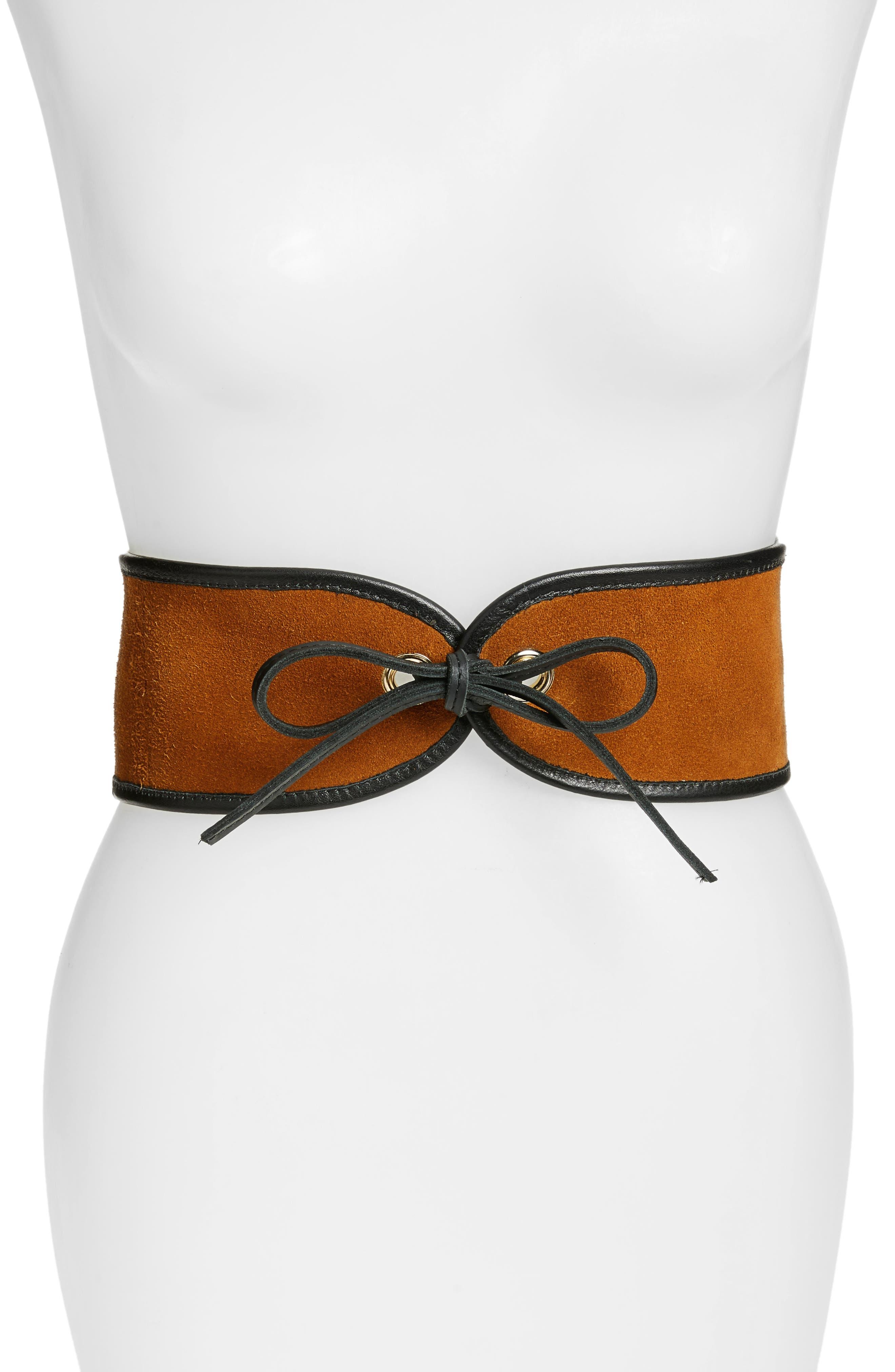 Casablanca Leather Corset Belt,                             Main thumbnail 1, color,                             Cognac/ Black