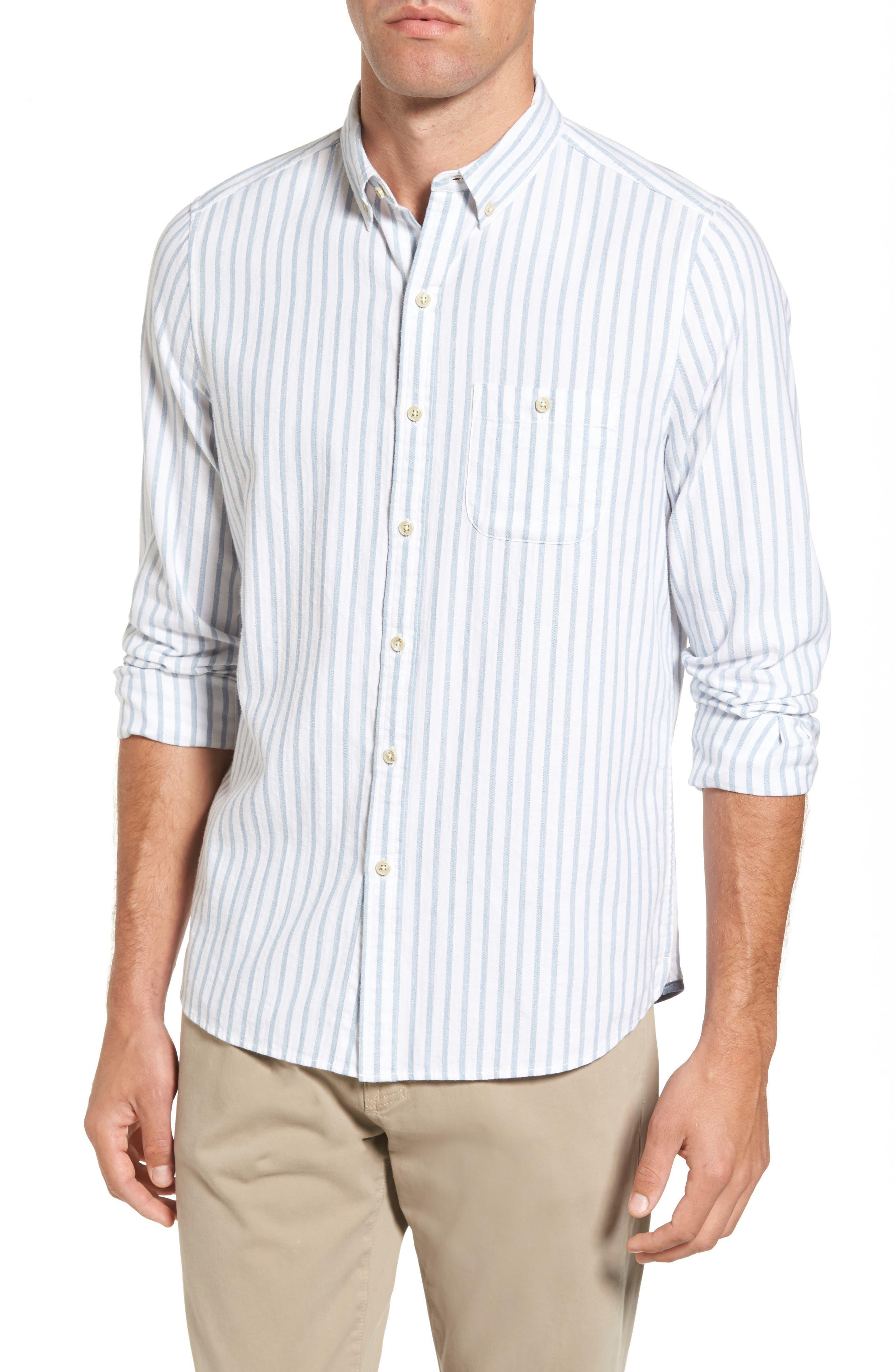 Trim Fit Vertical Stripe Sport Shirt,                         Main,                         color, Ice Blue