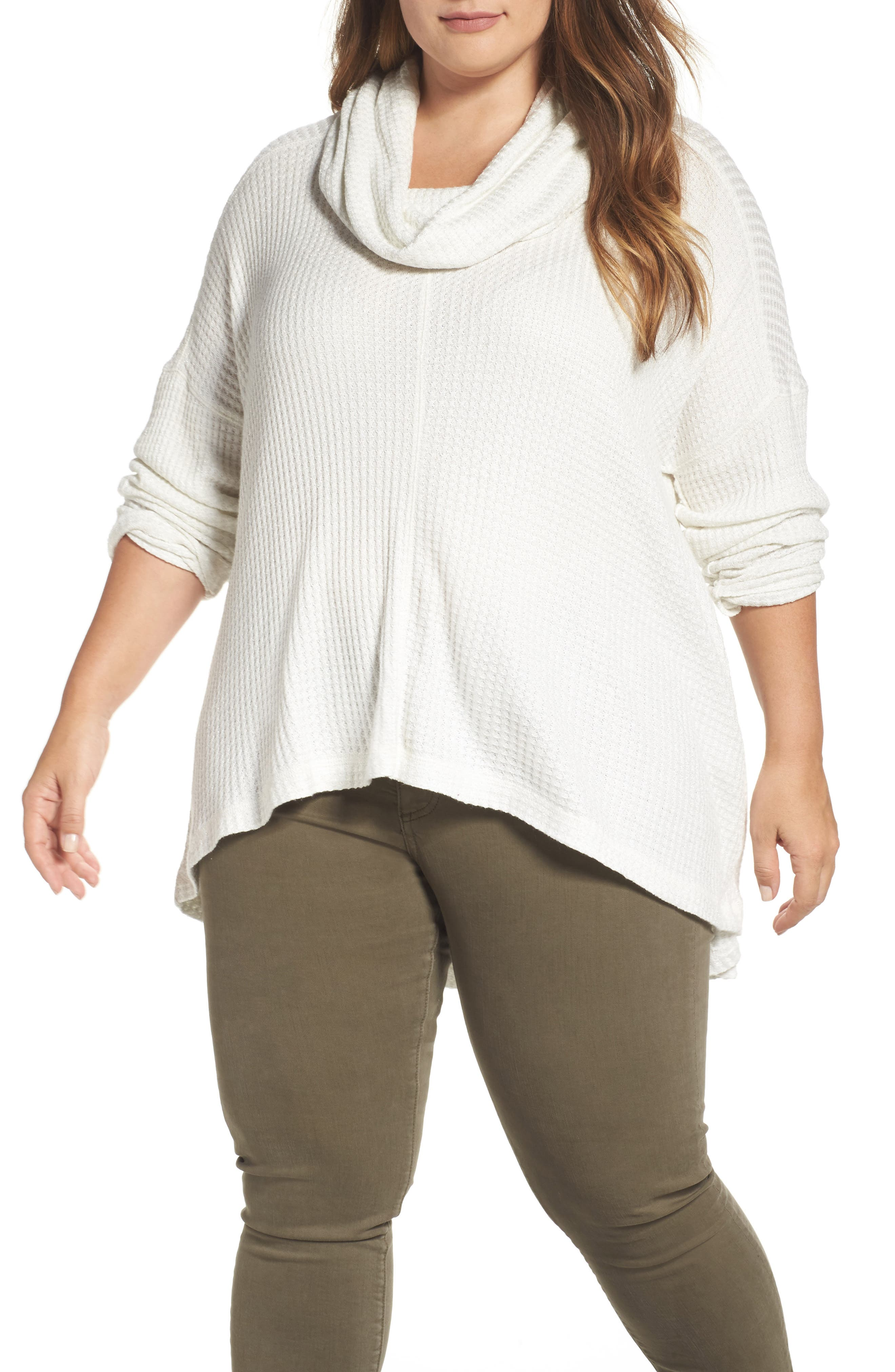Cowl Neck Thermal Top,                         Main,                         color, Marshmallow