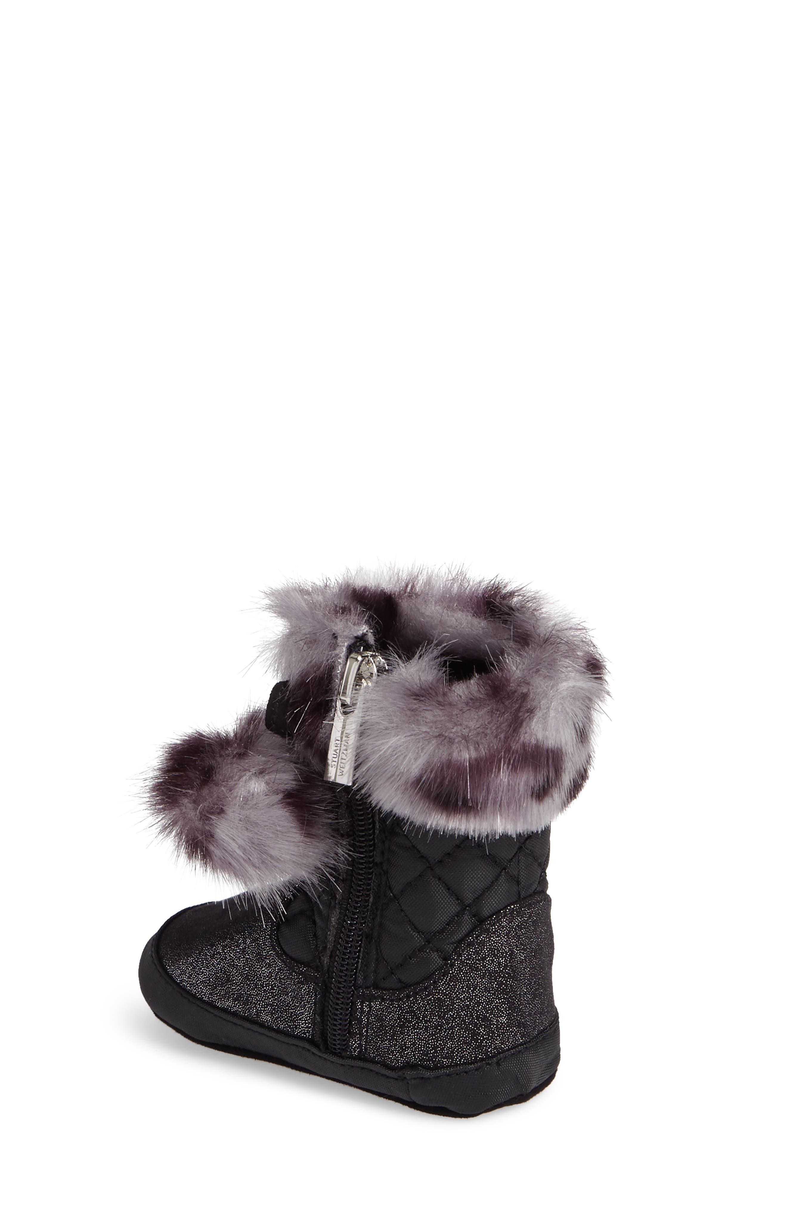 Baby Sparkle Faux Fur Crib Bootie,                             Alternate thumbnail 2, color,                             Black Shimmer