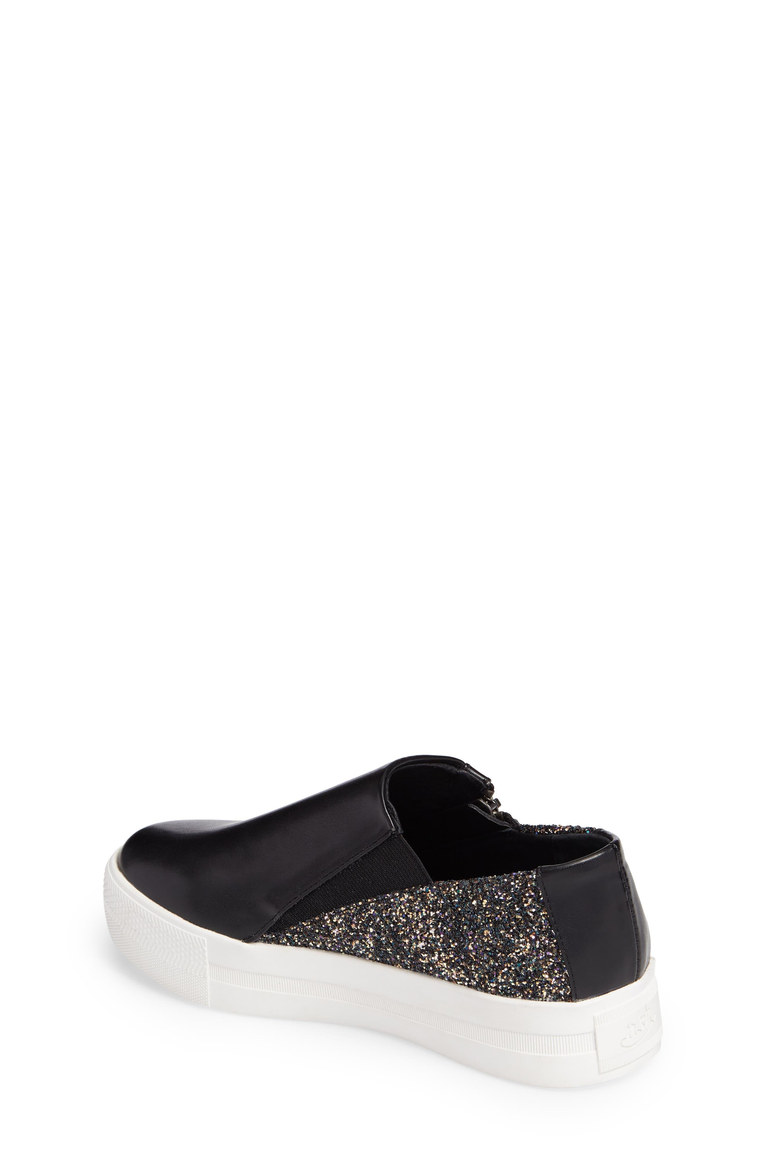 Lynn Monica Glittery Zip Sneaker,                             Alternate thumbnail 2, color,                             Black Faux Leather