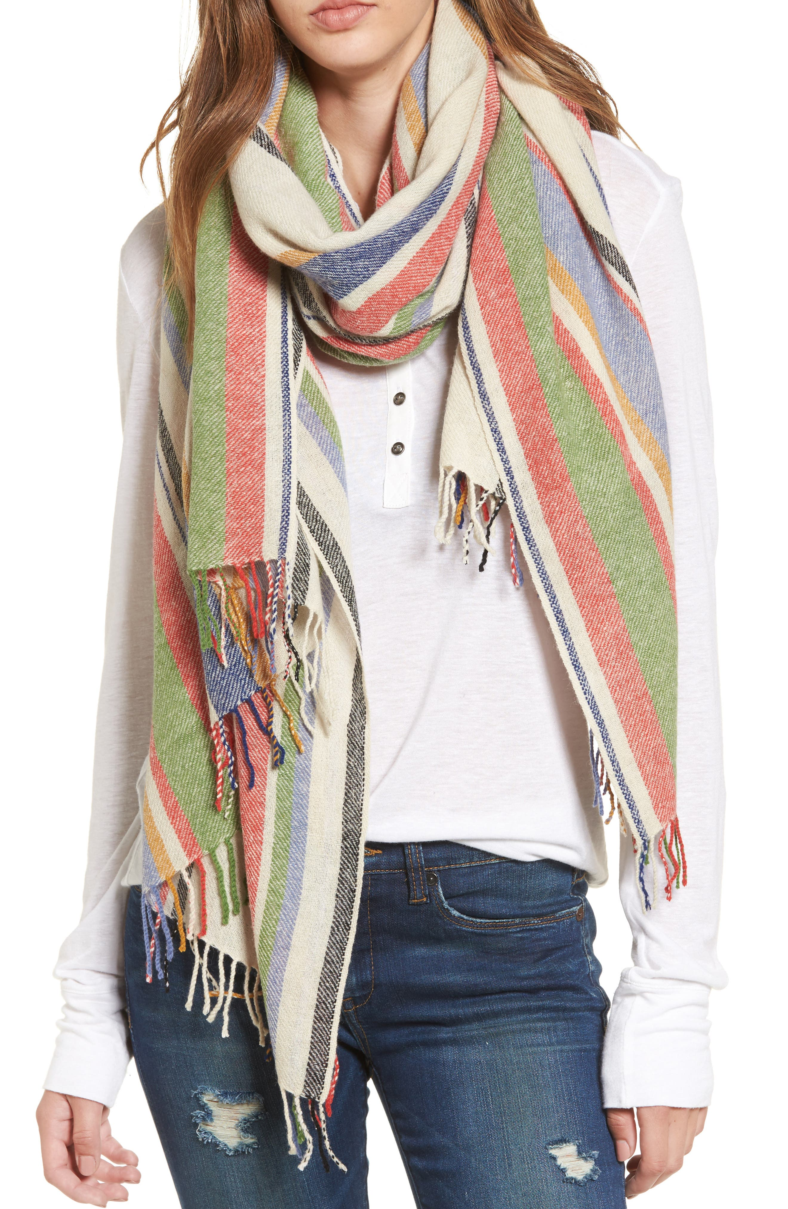 Variance Wool & Cashmere Scarf,                         Main,                         color, Ivory Multi