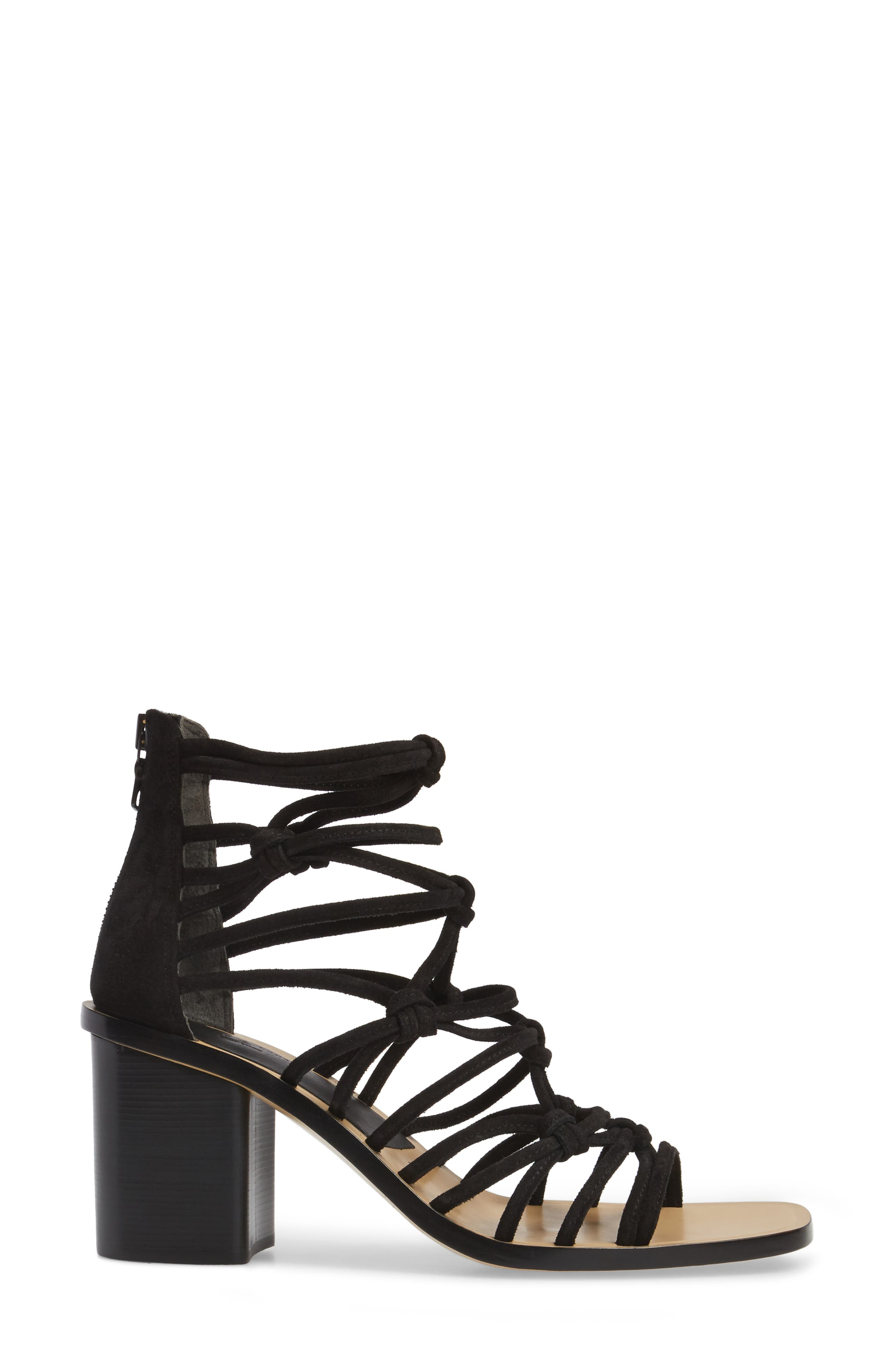 Camille Knotted Strappy Sandal,                             Alternate thumbnail 3, color,                             Black Suede