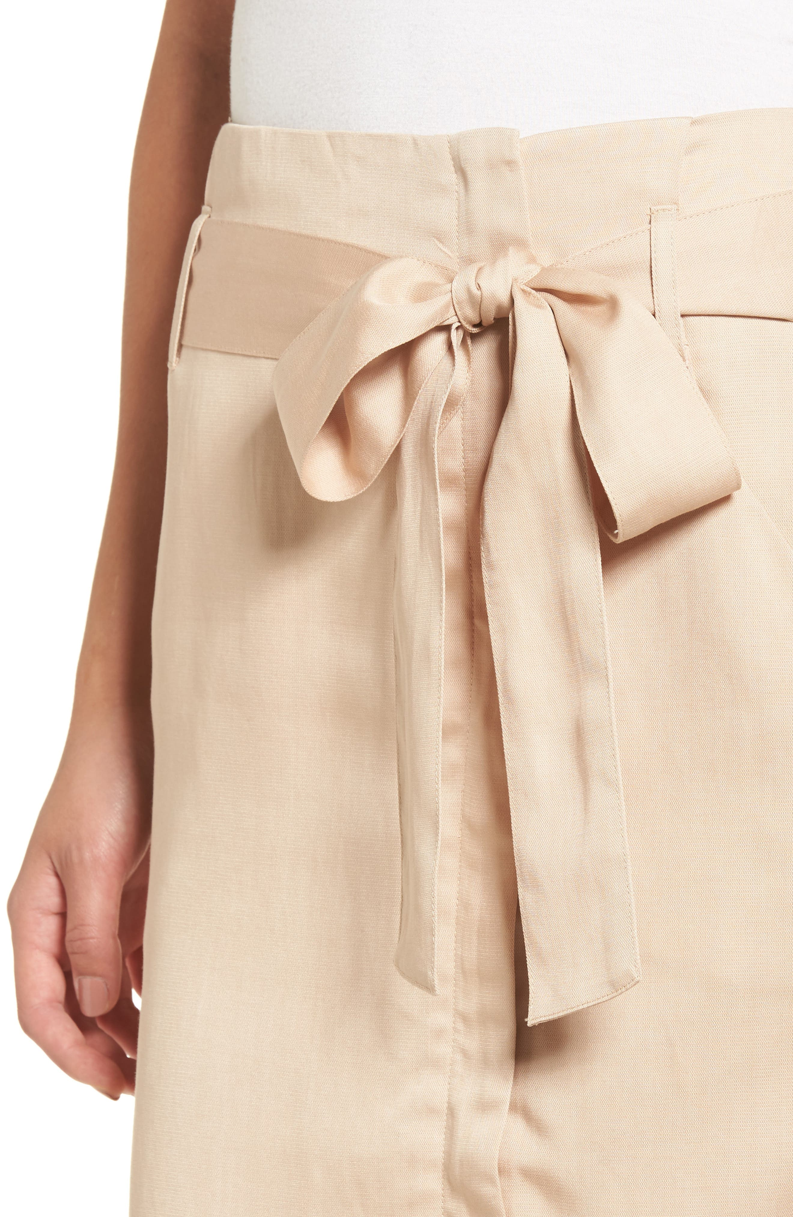 Tie Waist Pencil Skirt,                             Alternate thumbnail 4, color,                             Taupe