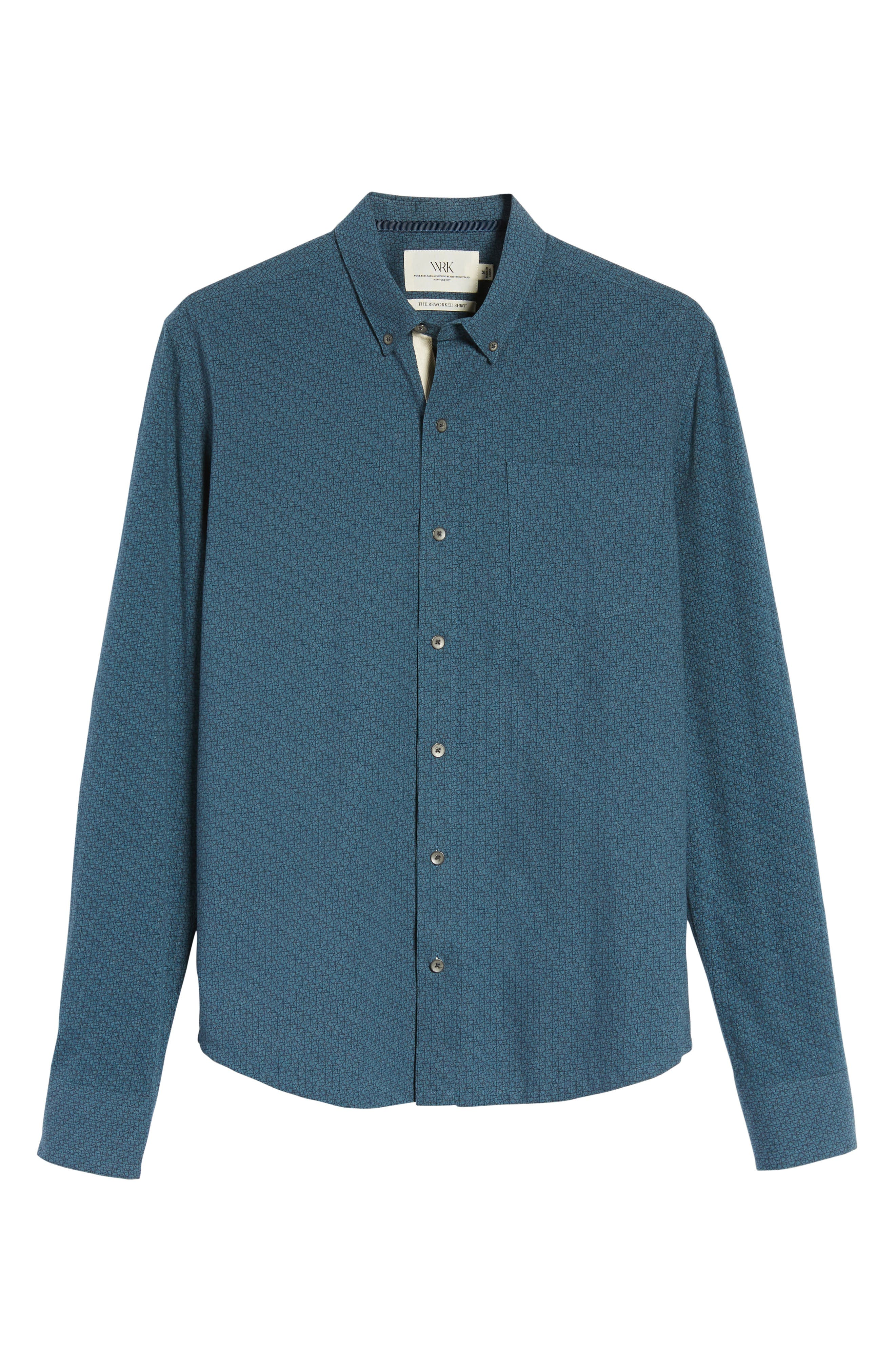 Reworked Cracked Ice Sport Shirt,                             Alternate thumbnail 5, color,                             Teal