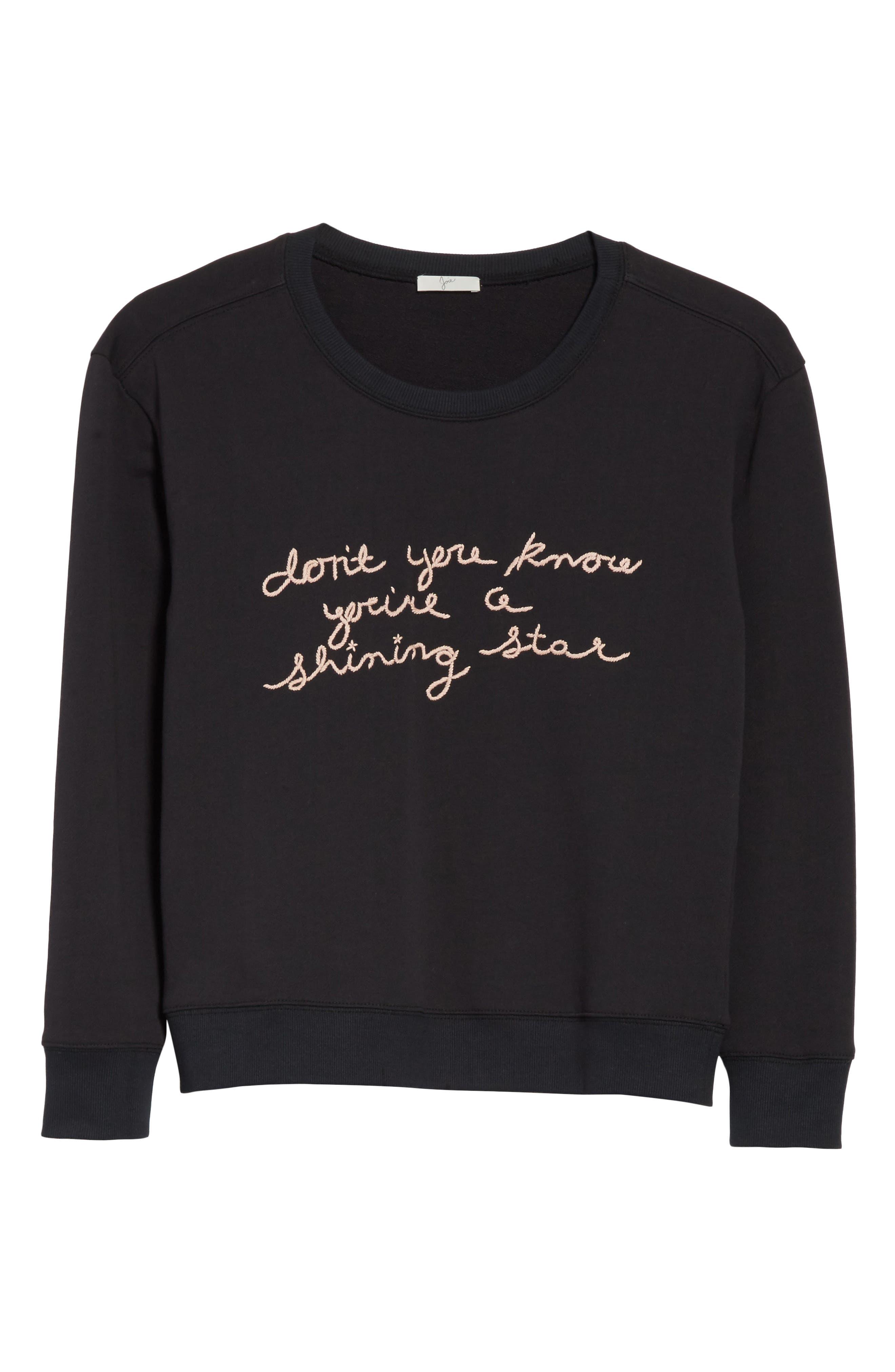 Rikke B Embroidered Sweatshirt,                             Alternate thumbnail 6, color,                             Caviar