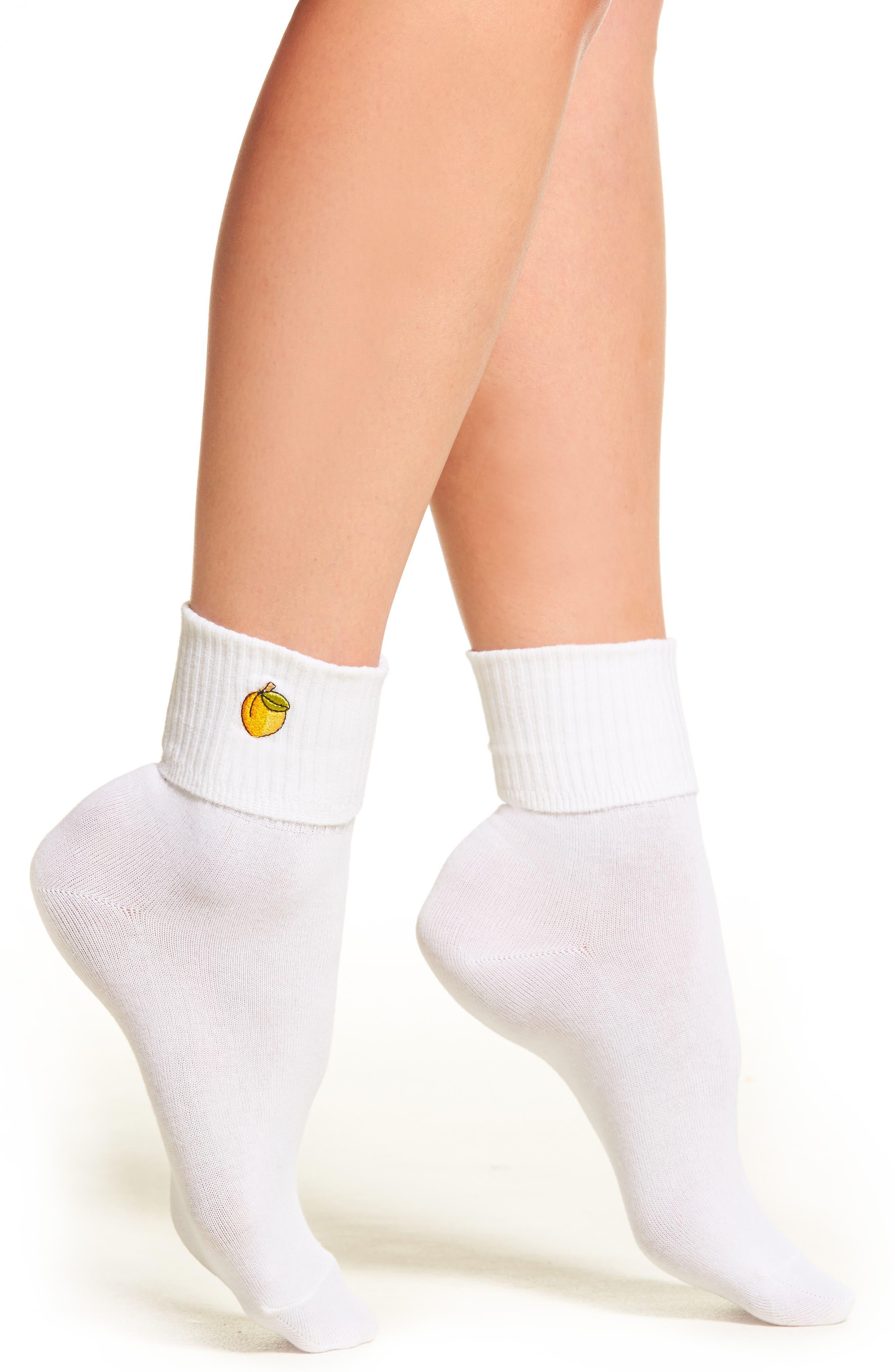 Peach Socks,                         Main,                         color, White/ Yellow