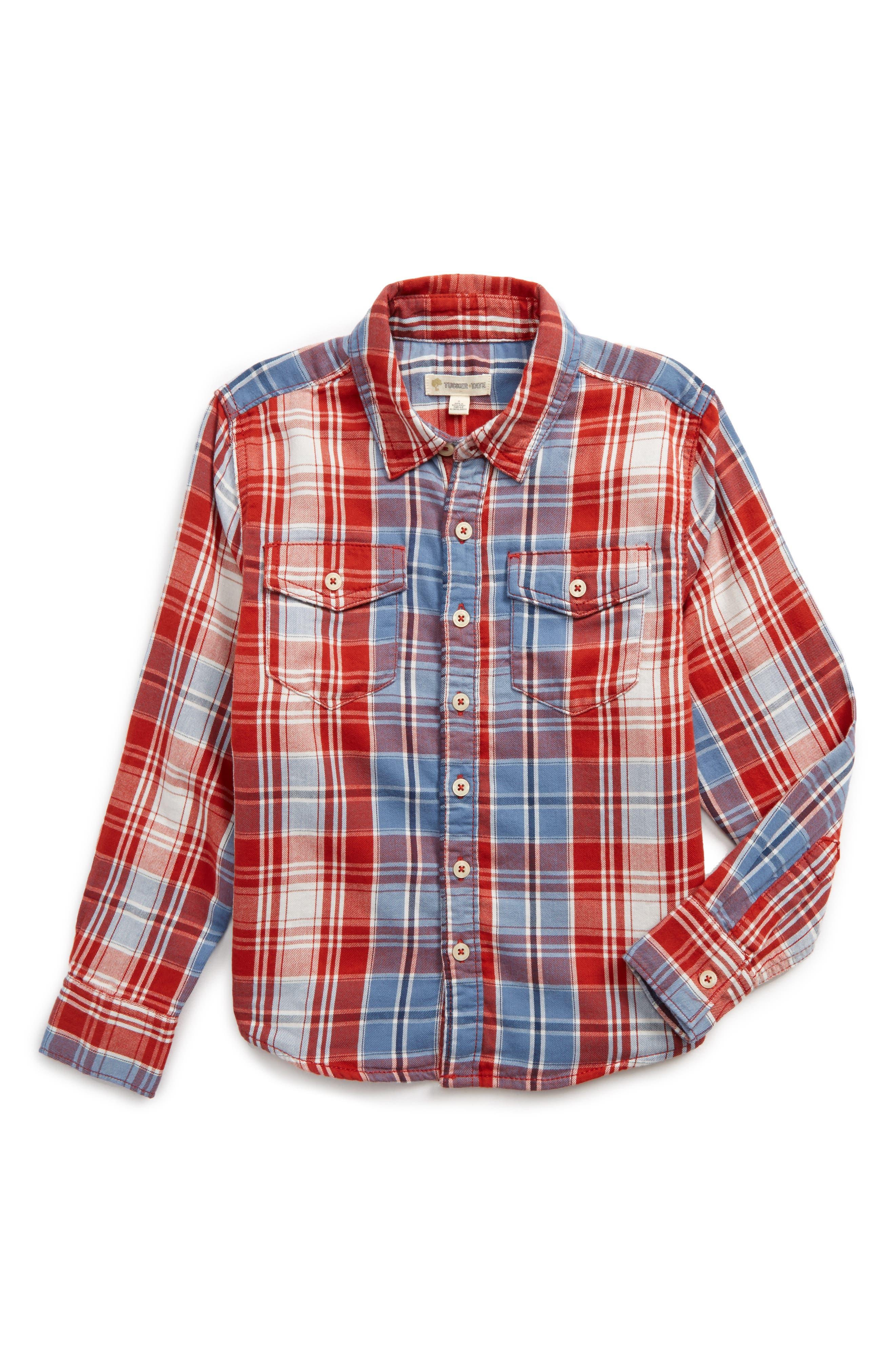 Alternate Image 1 Selected - Tucker + Tate Plaid Double Cloth Shirt (Toddler Boys & Little Boys)