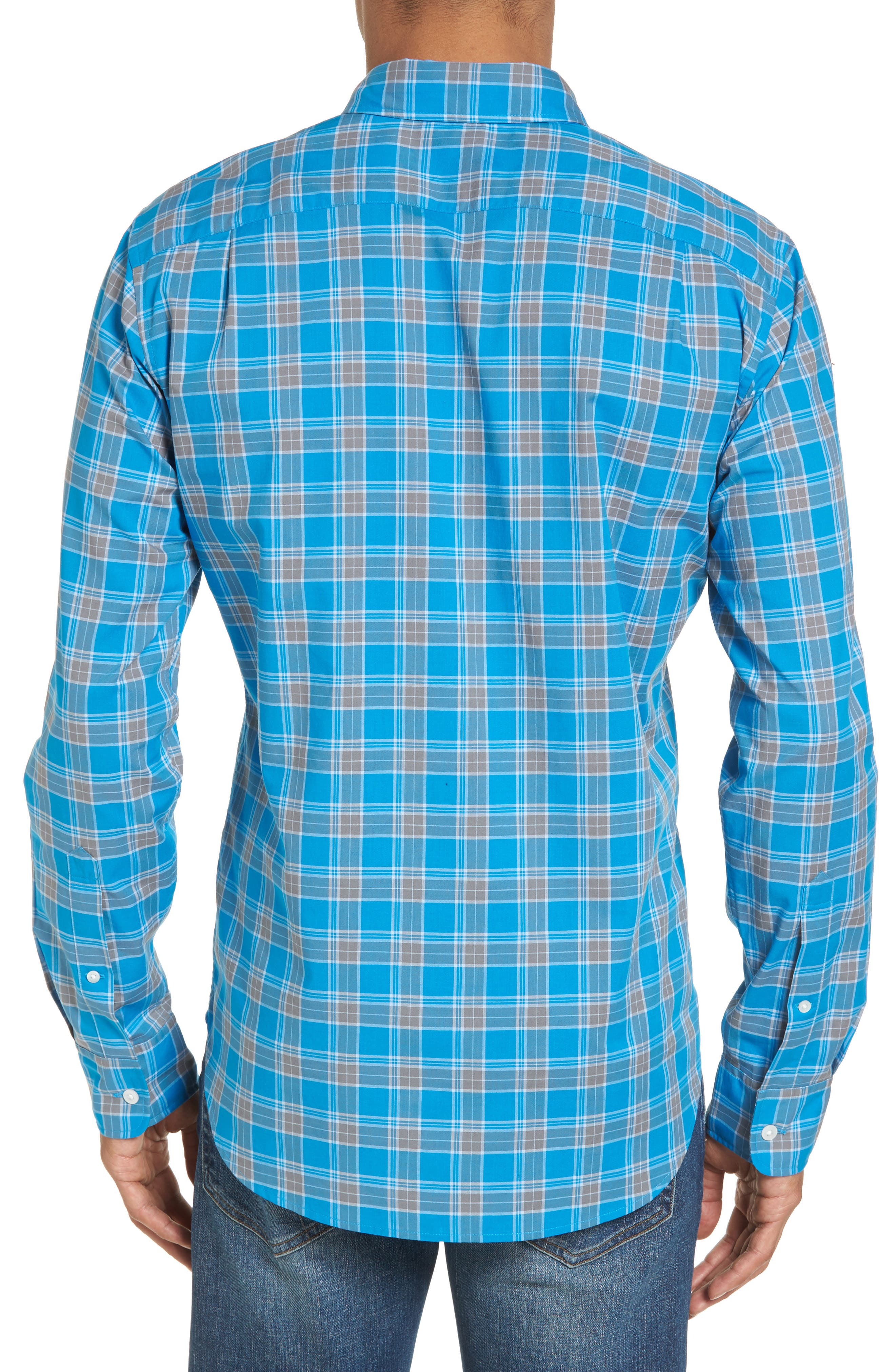 Summerweight Slim Fit Plaid Sport Shirt,                             Alternate thumbnail 2, color,                             Blue