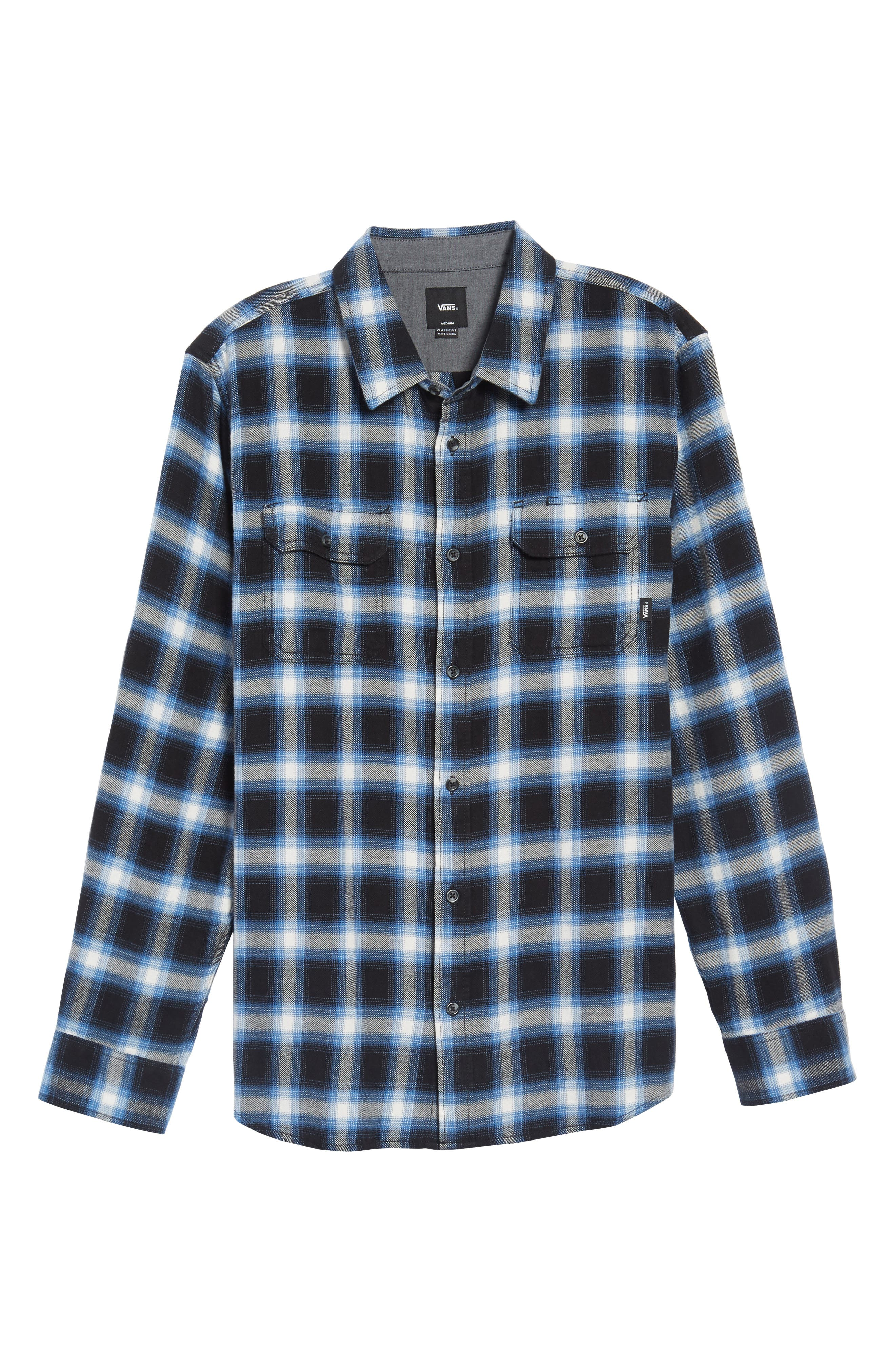 Beachwood Flannel Shirt,                             Alternate thumbnail 6, color,                             Black/ Delft